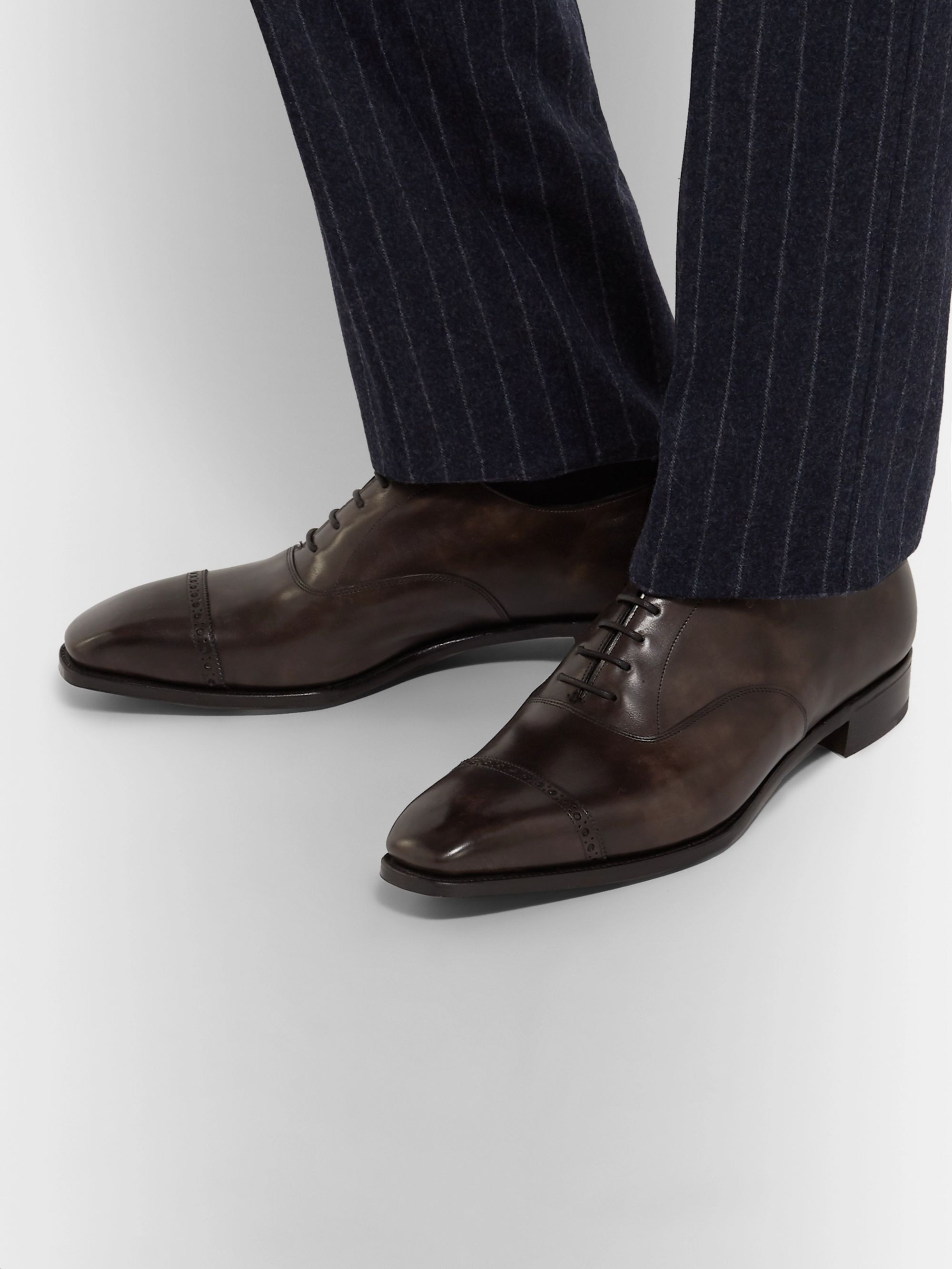 George Cleverley Nakagawa Burnished-Leather Oxford Brogues