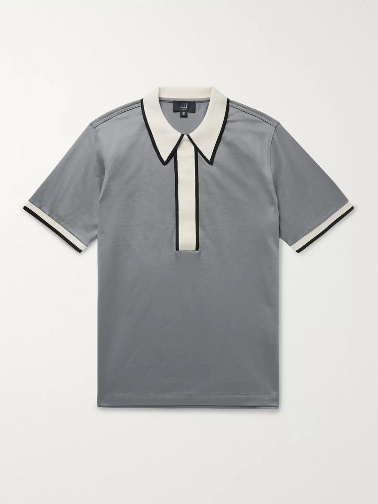 Dunhill Contrast-Trimmed Cotton-Jersey Polo Shirt