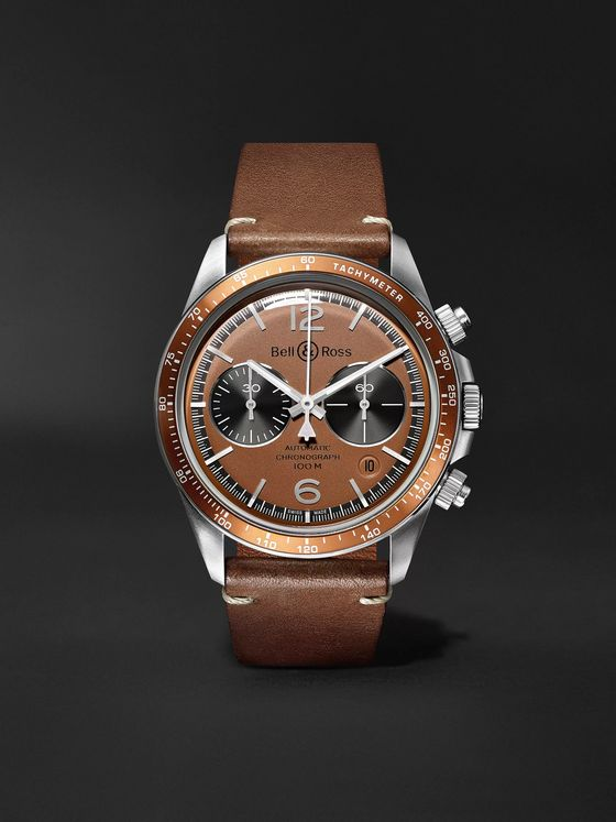 Bell & Ross + Revolution Bellytanker Dusty Limited Edition Automatic Chronograph 41mm Steel and Leather Watch, Ref. No. BRV294-RR-ST/SCA