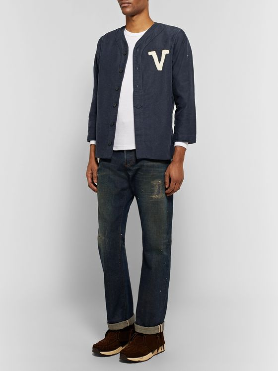 visvim Dugout Logo-Appliqued Pinstriped Denim Shirt