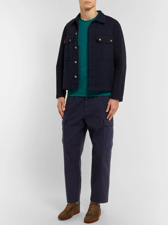 Barena Navy Trato Cropped Tapered Cotton-Blend Twill Cargo Trousers