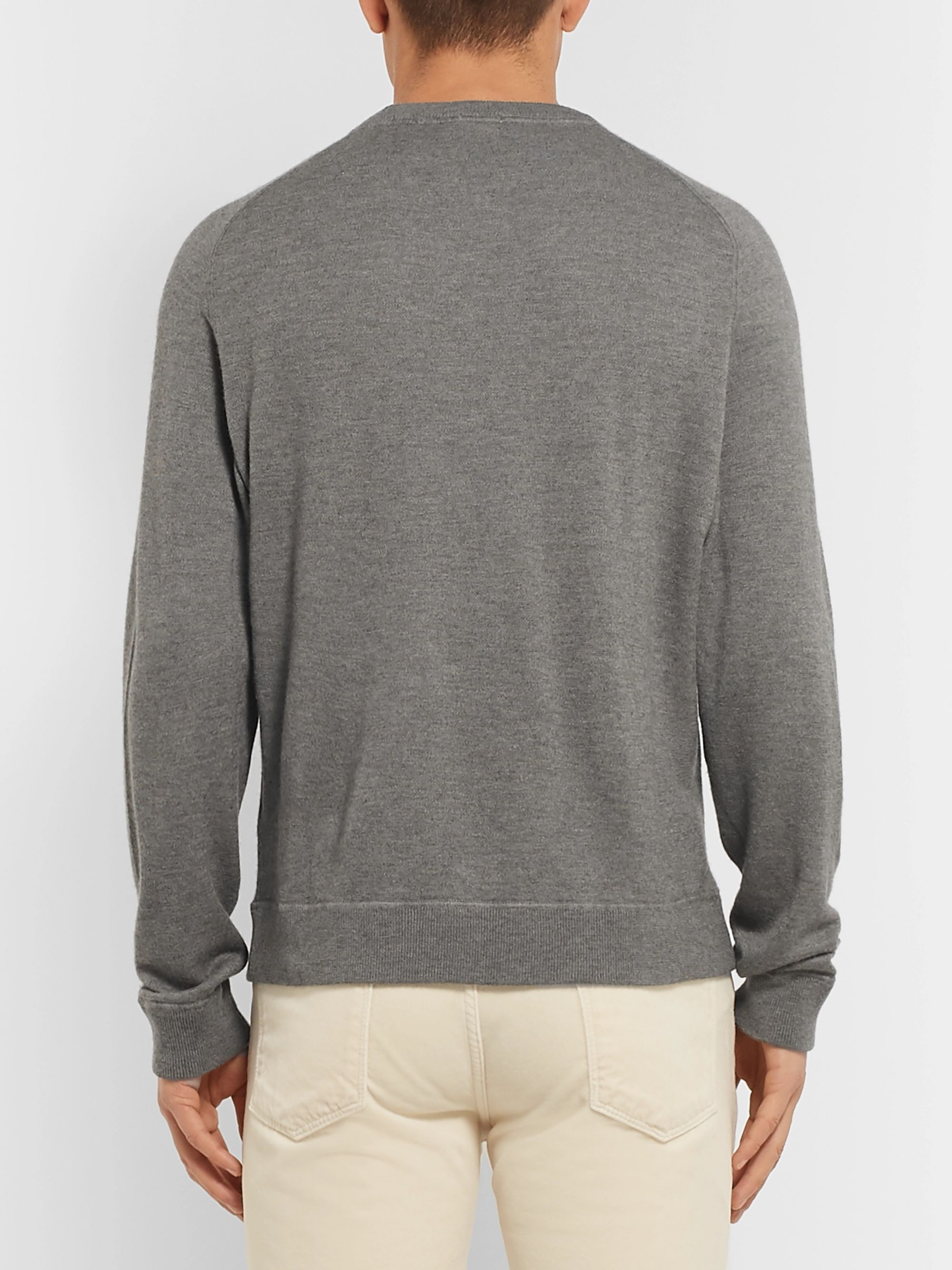 Massimo Alba Watercolour-Dyed Mélange Loopback Cashmere Sweater
