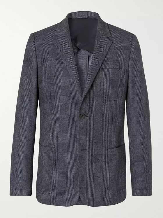 Mr P. Navy Prince of Wales Checked Wool and Cotton-Blend Blazer
