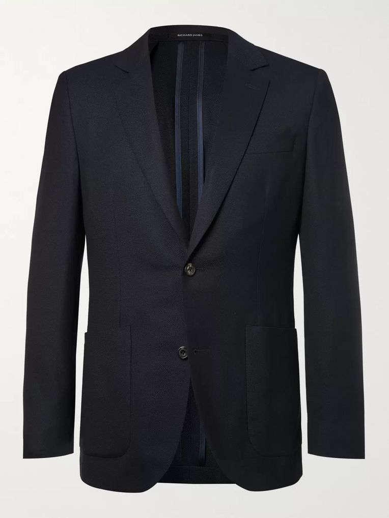 Richard James Navy Spirit Slim-Fit Wool-Hopsack Blazer