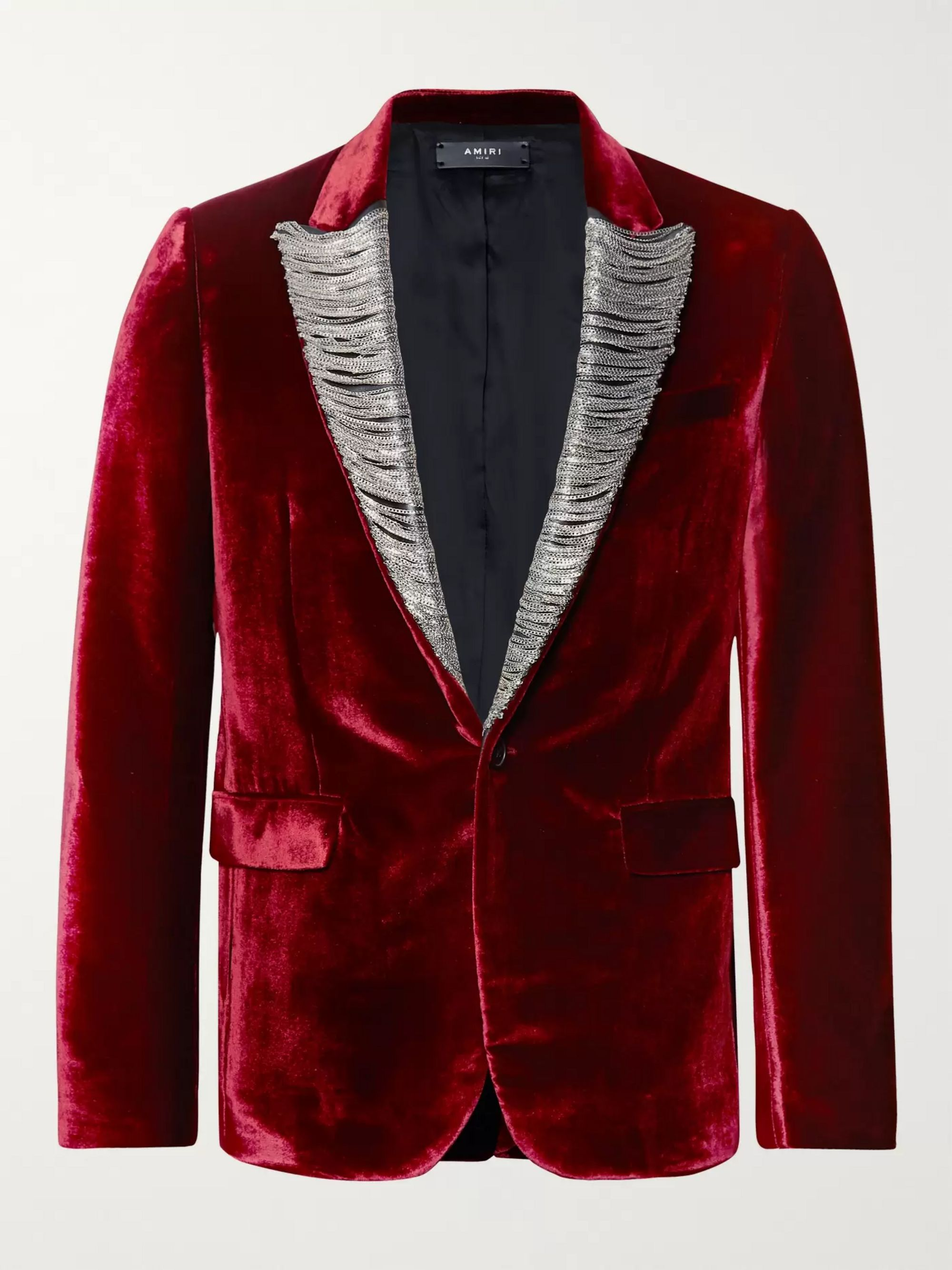 AMIRI Burgundy Slim-Fit Chain-Detailed Leather-Trimmed Silk-Velvet Blazer