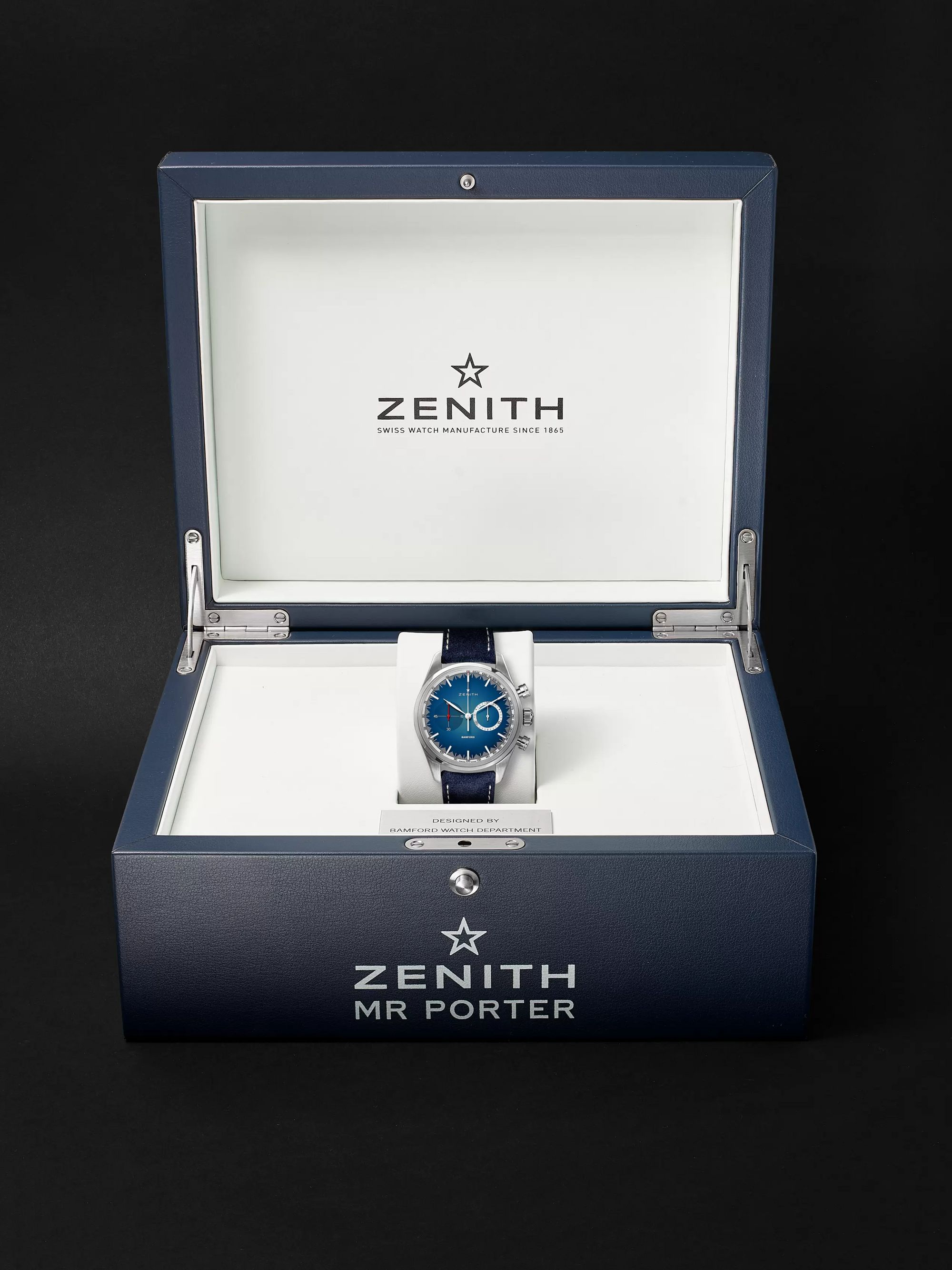 Zenith Chronomaster El Primero Solar Blue Limited Edition Automatic Chronograph 38mm Stainless Steel and Alcantara Watch, Ref. No.