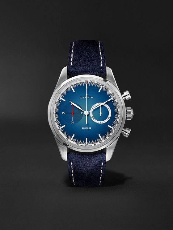 Zenith Chronomaster El Primero Solar Blue Limited Edition Automatic Chronograph 38mm Stainless Steel and Alcantara Watch, Ref. No. 03.2152.4069/57.C814
