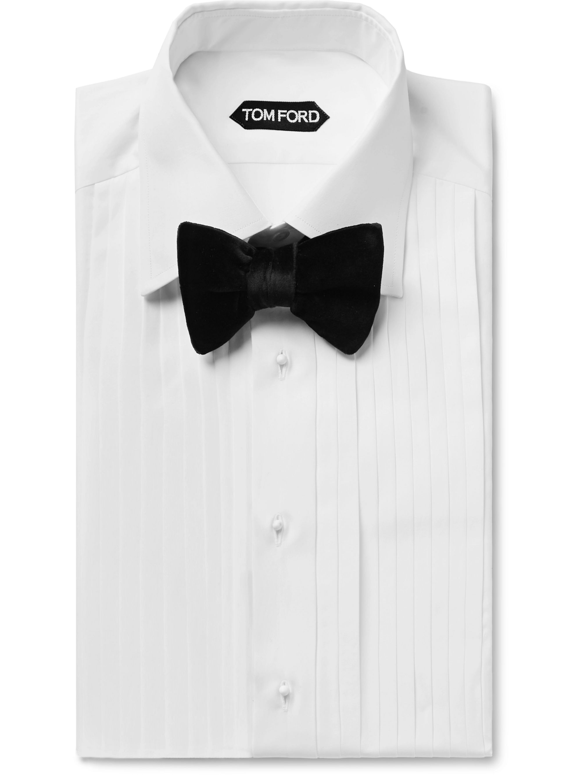 TOM FORD White Slim-Fit Bib-Front Double-Cuff Sea Island Cotton Shirt