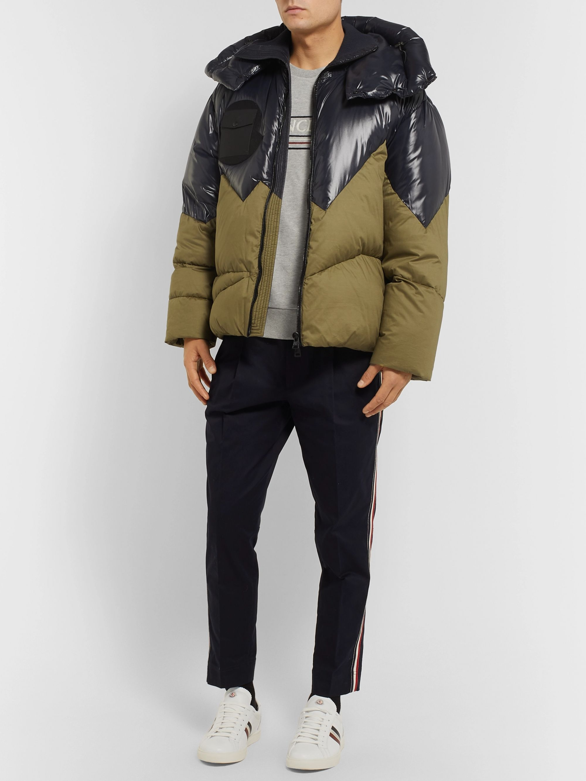 Moncler Genius 2 Moncler 1952 Two-Tone Quilted Shell Hooded Down Jacket