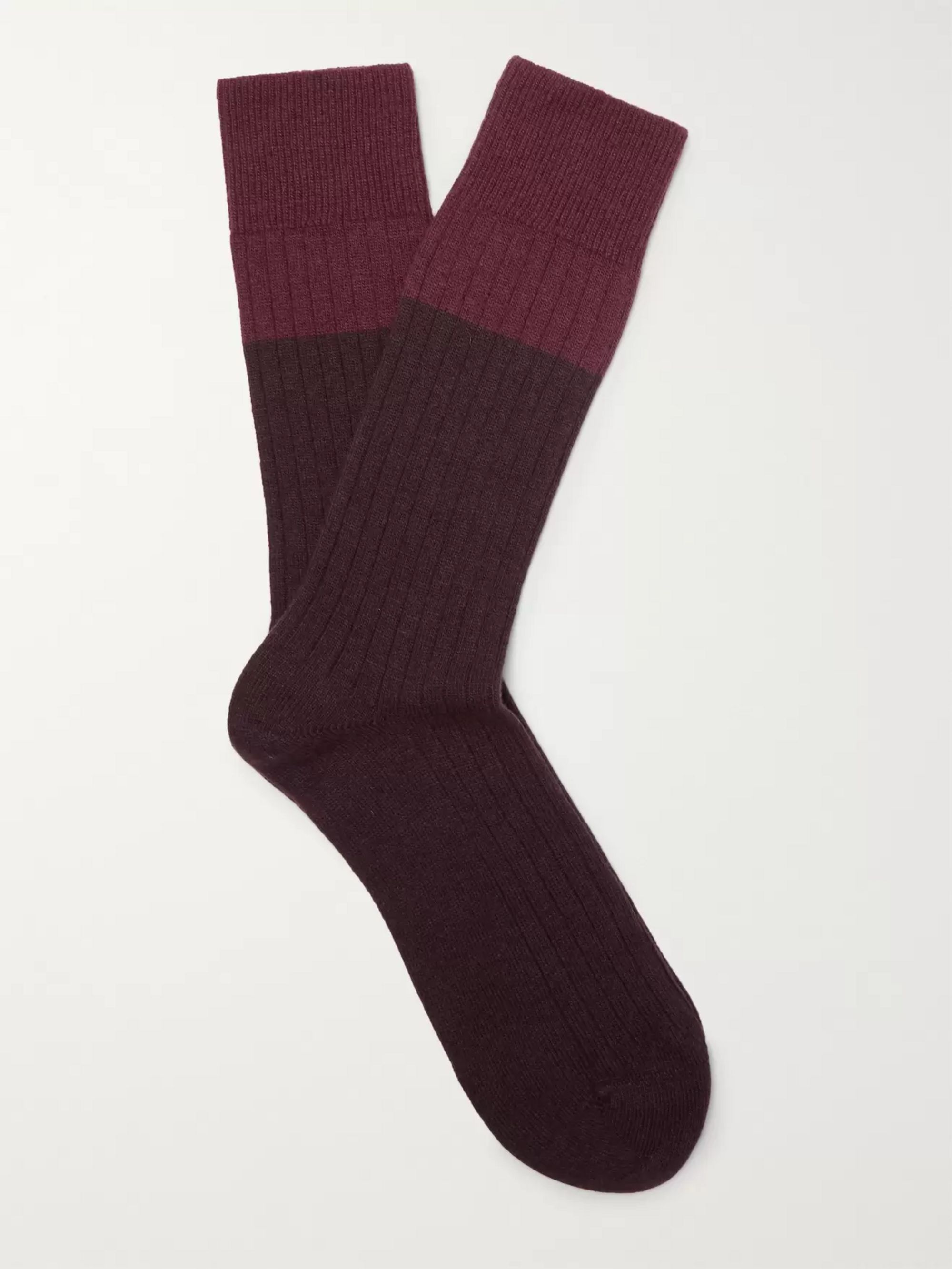 NN07 Colour-Block Ribbed-Knit Socks