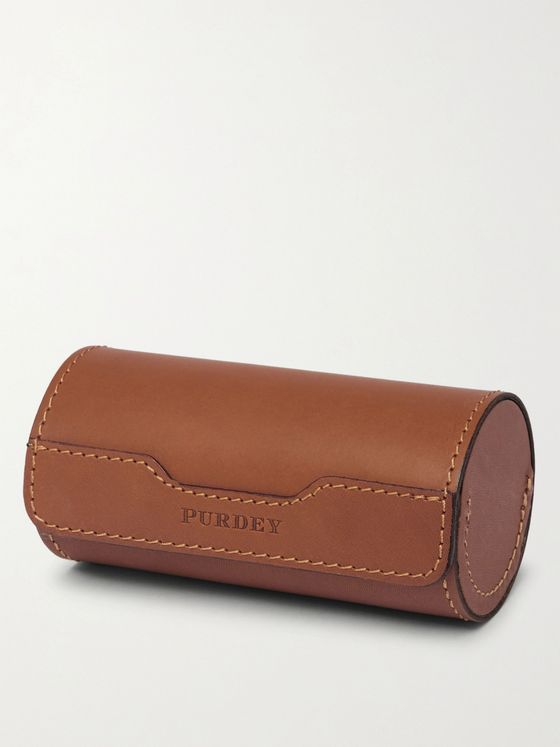 Purdey Leather Case and Stainless Steel Cup Set