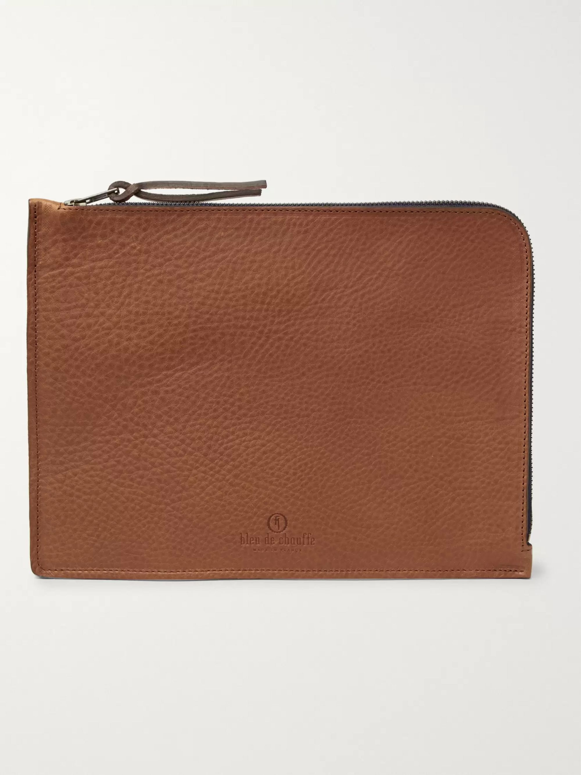 Bleu de Chauffe Full-Grain Leather Zip-Around Pouch