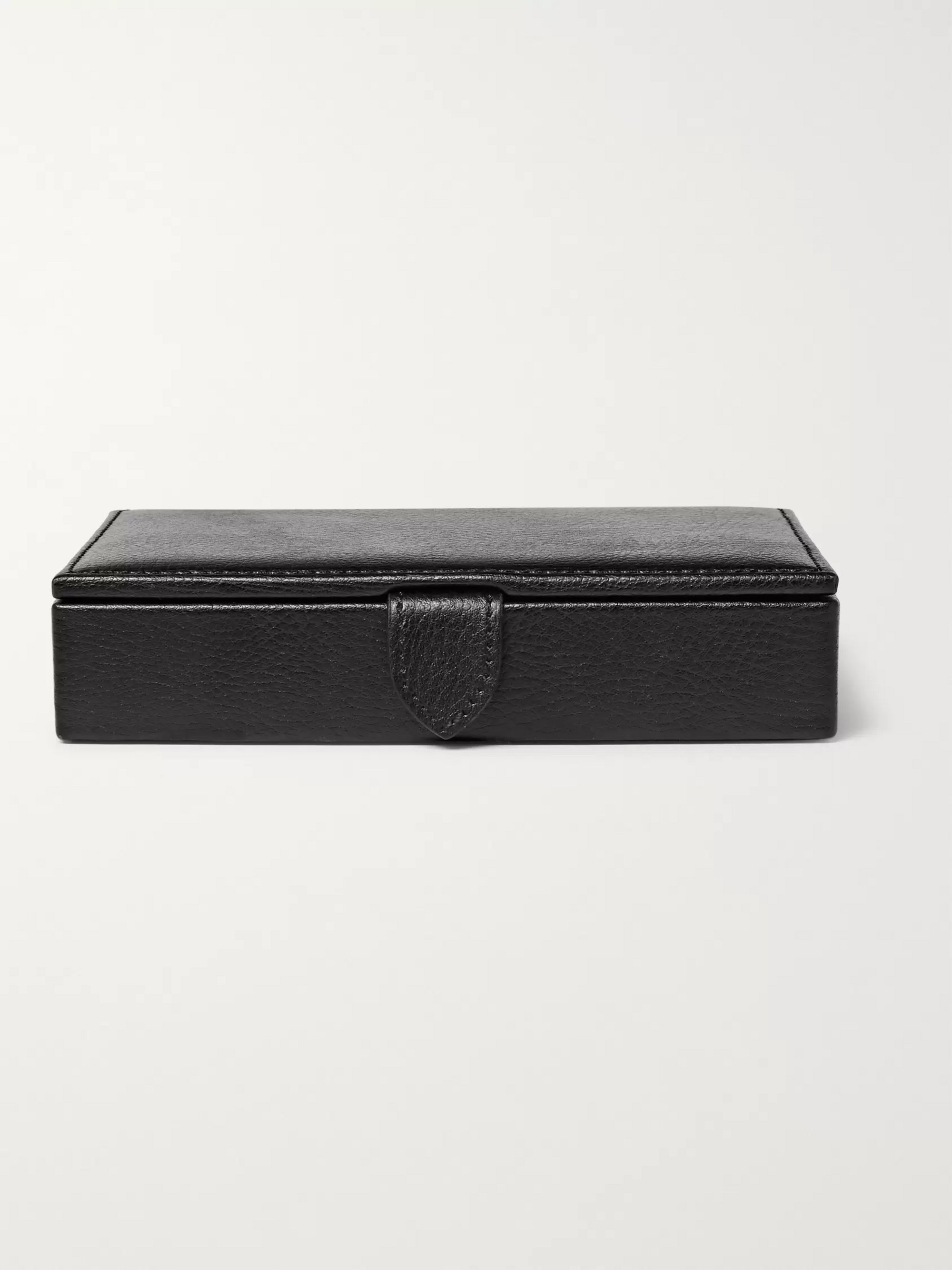 WOLF Blake Full-Grain Leather Cufflink Case