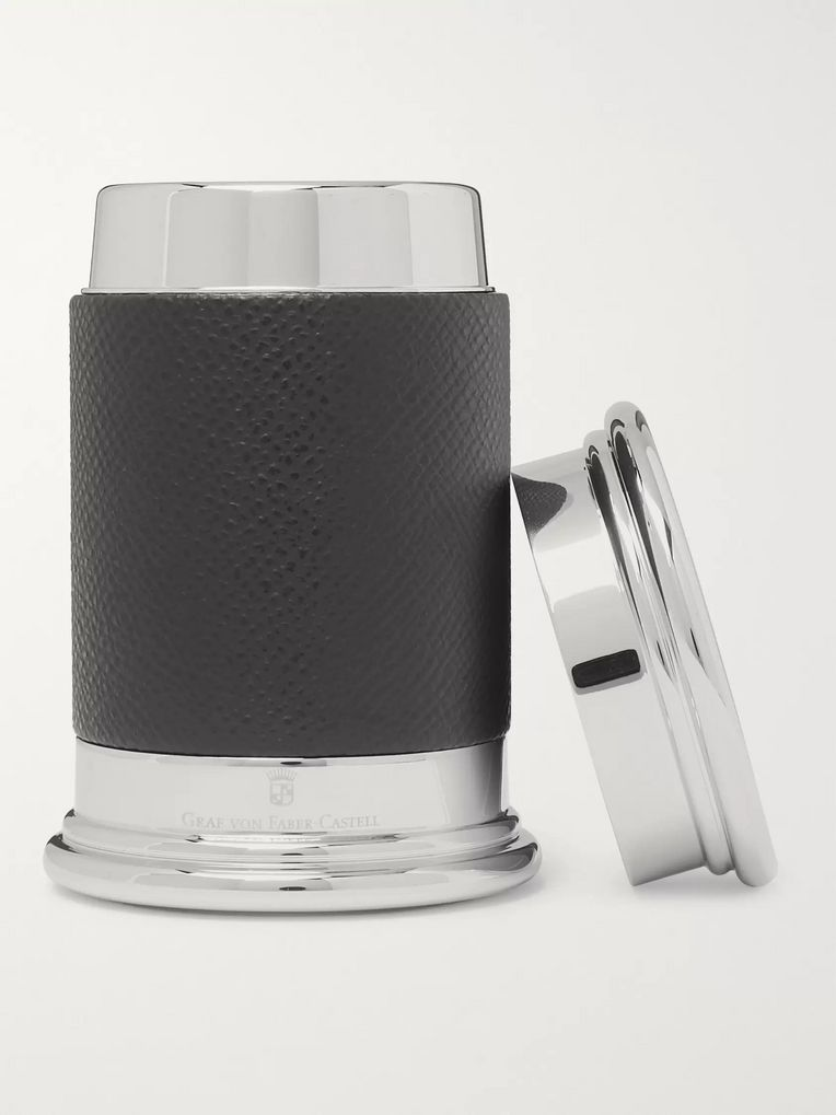 Graf von Faber-Castell Epsom Textured-Leather and Silver-Tone Pencil Sharpener