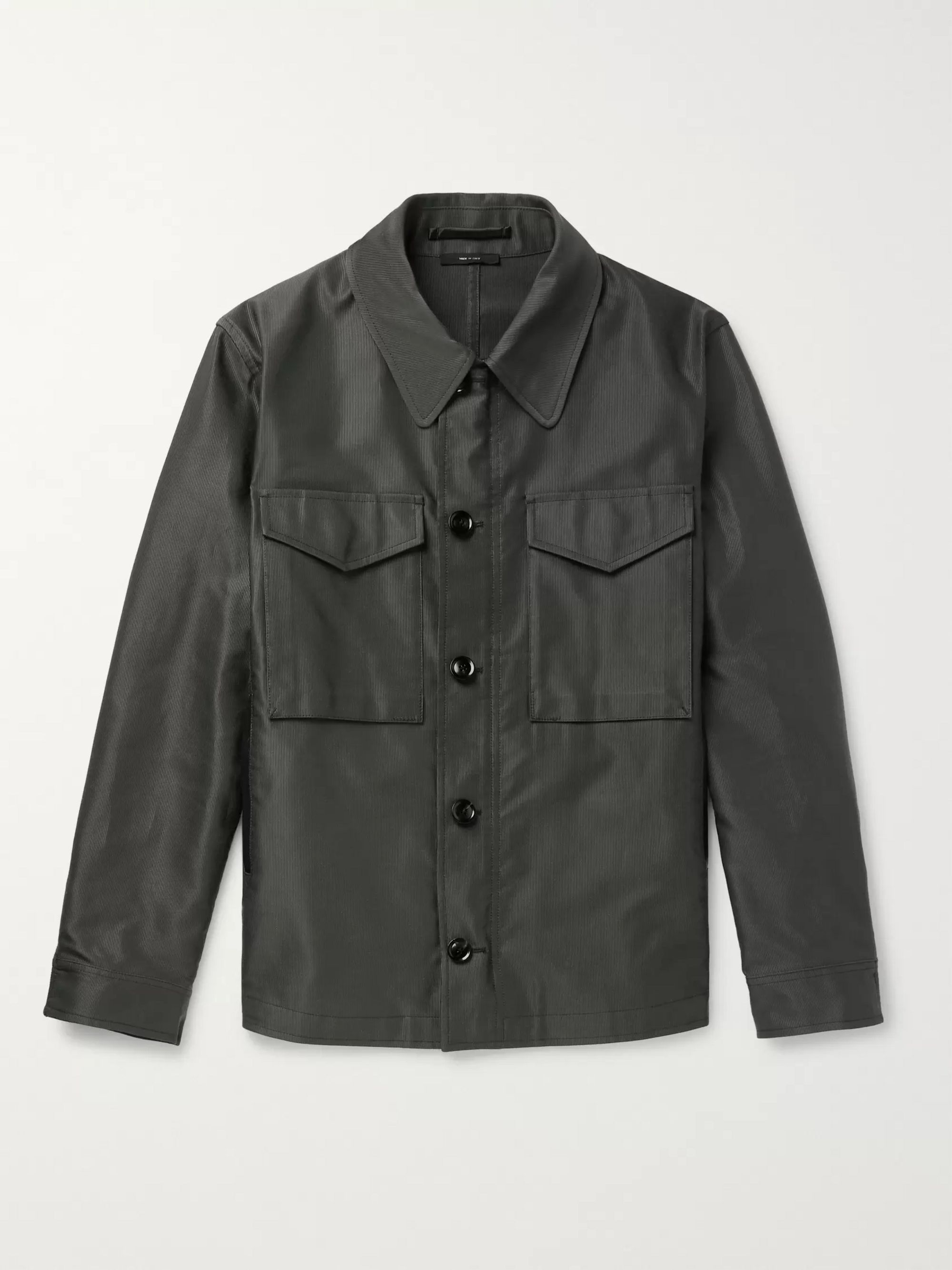 TOM FORD Leather-Trimmed Coated Cotton-Blend Field Jacket