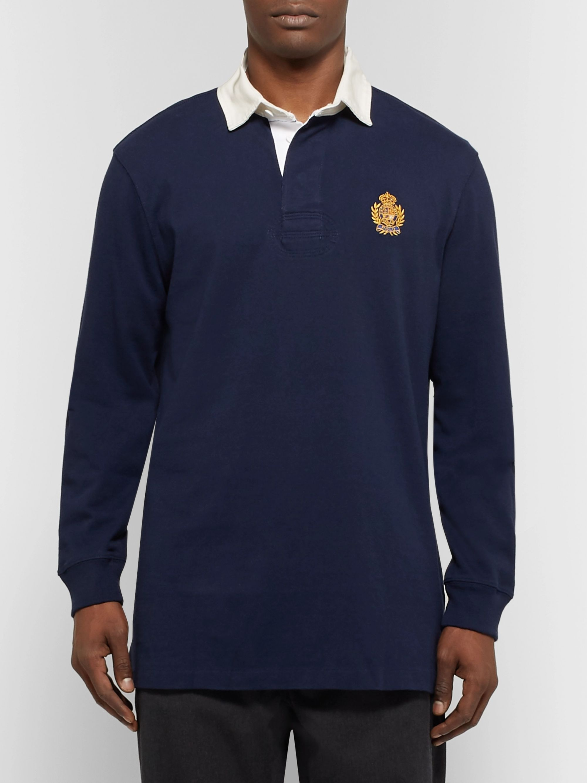 Polo Ralph Lauren Logo-Embroidered Twill-Trimmed Cotton-Jersey Rugby Shirt