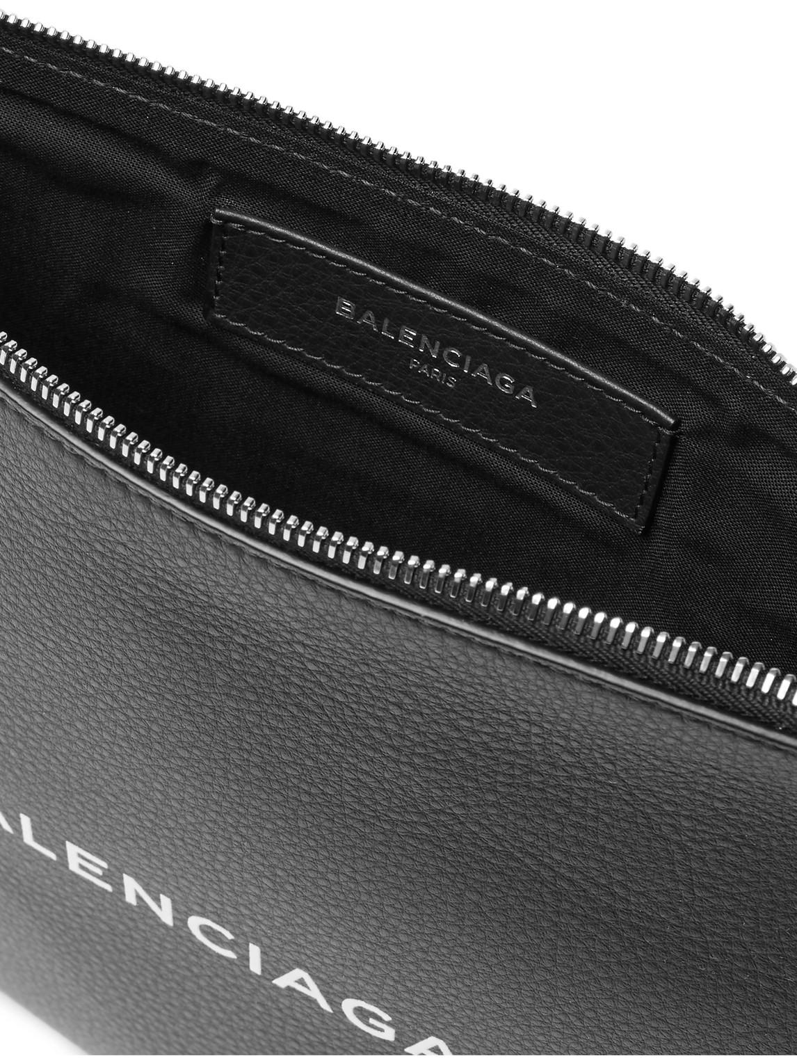 Balenciaga Backpacks LOGO-PRINT CREASED-LEATHER POUCH