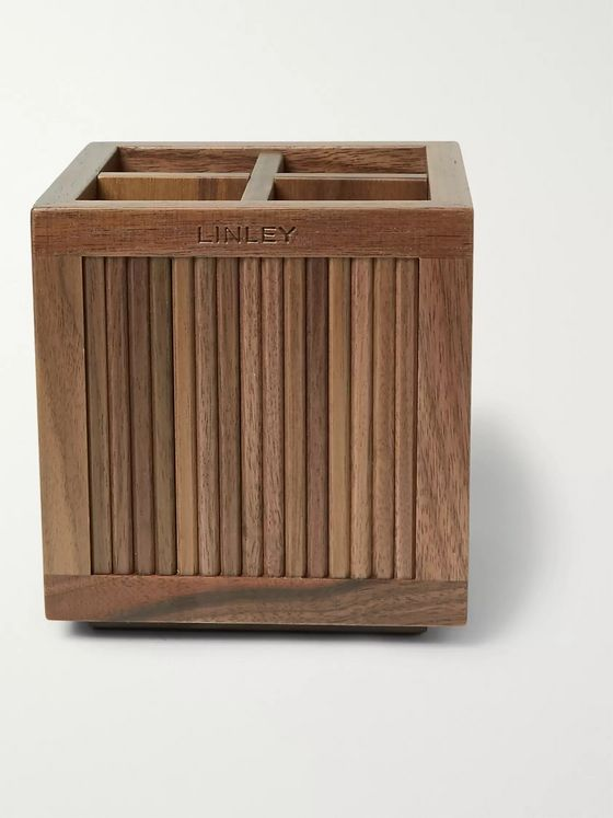 Linley Tambour Walnut Pencil Pot