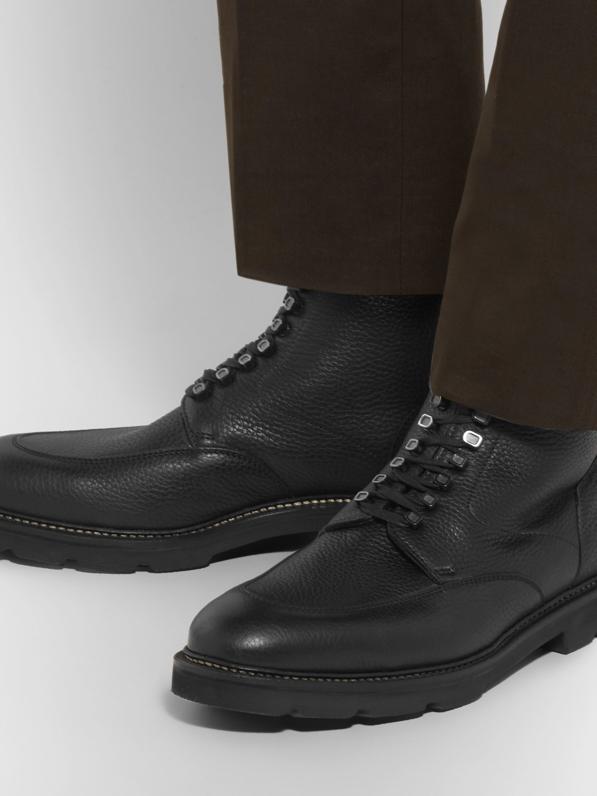 John Lobb Helston Pebble-Grain Leather Boots