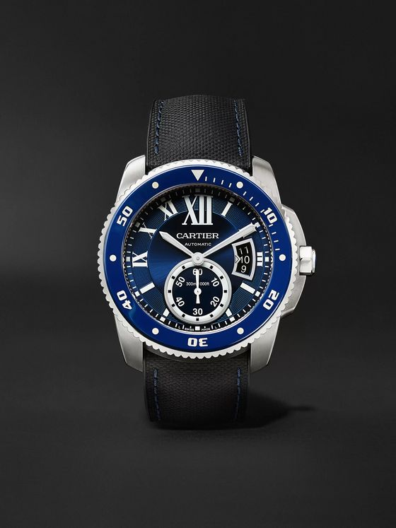 Cartier Calibre de Cartier Diver Automatic 42mm Stainless Steel and Leather Watch, Ref. No. CRWSCA0010