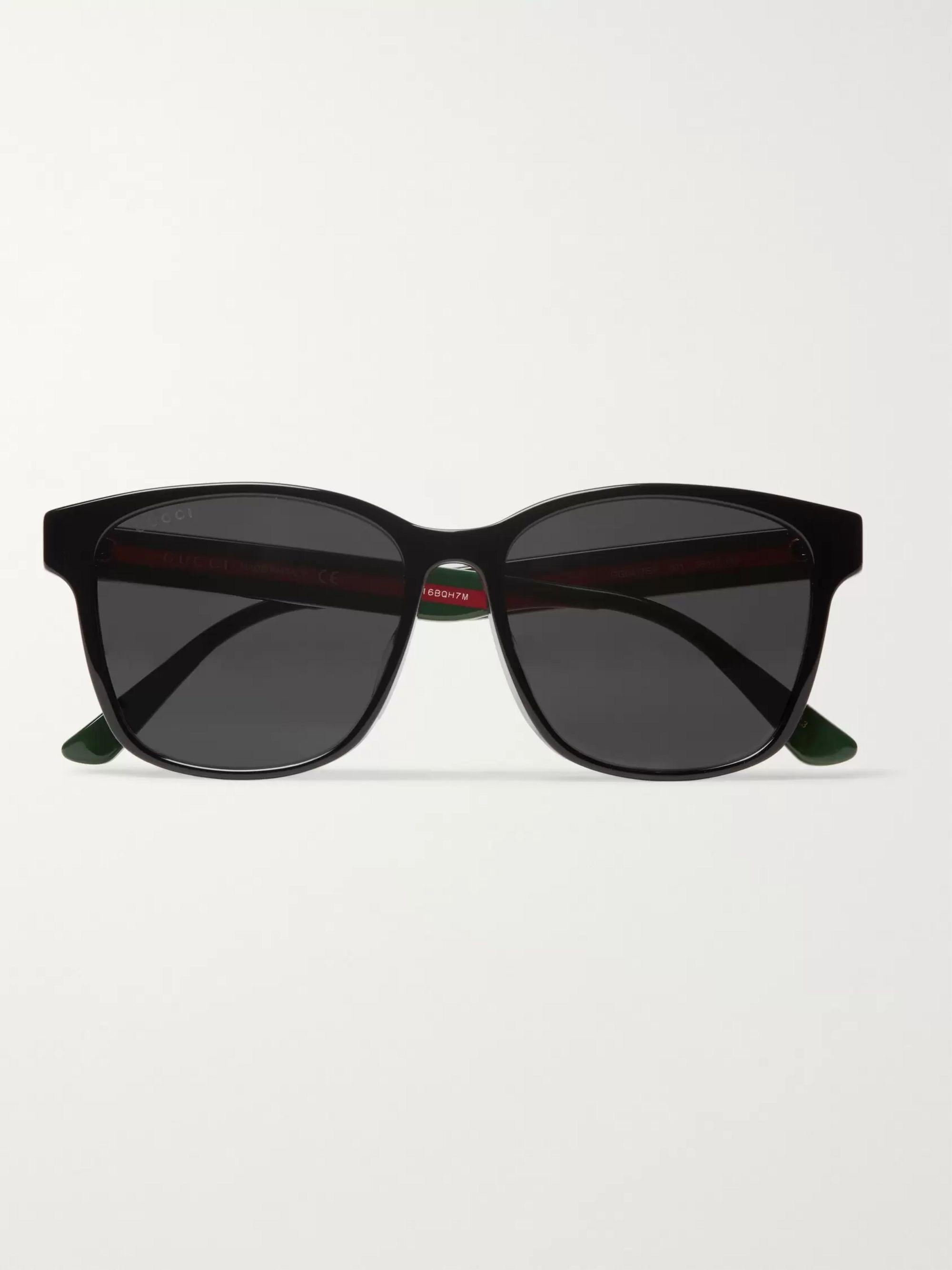 Square Frame Striped Acetate Sunglasses