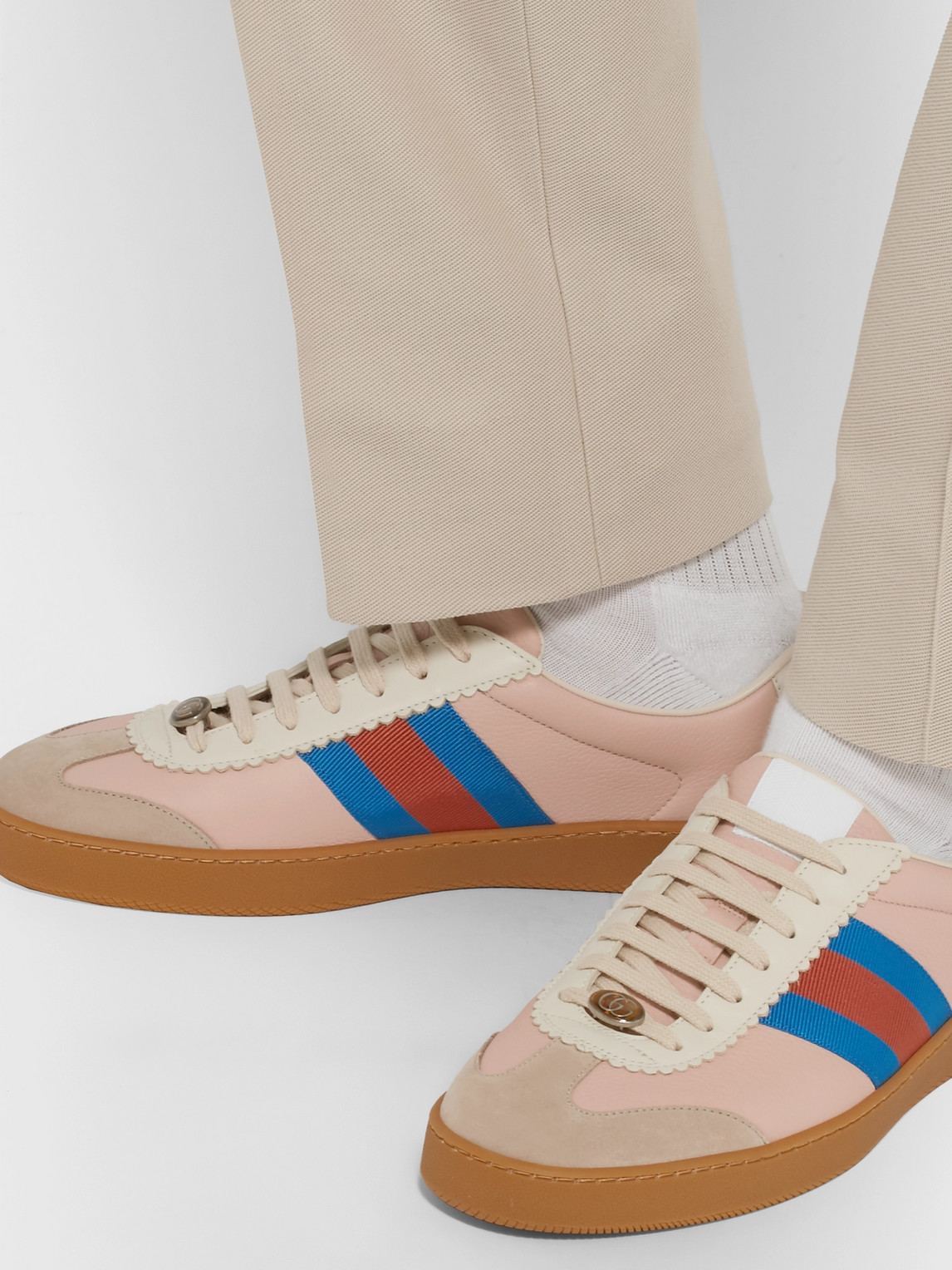 Gucci Sneakers JBG WEBBING-TRIMMED LEATHER AND SUEDE SNEAKERS