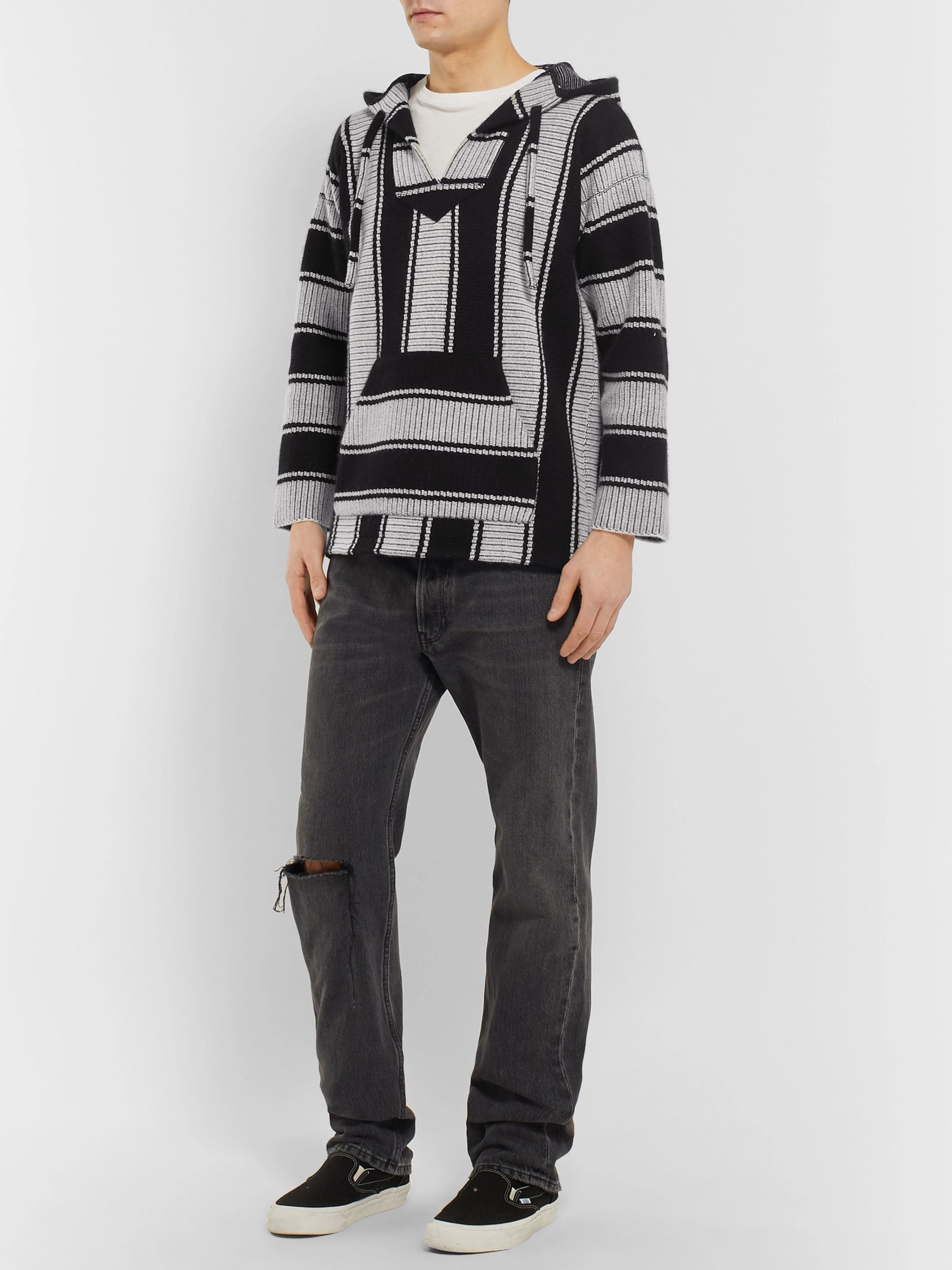 Alanui Striped Cotton and Cashmere-Blend Hoodie