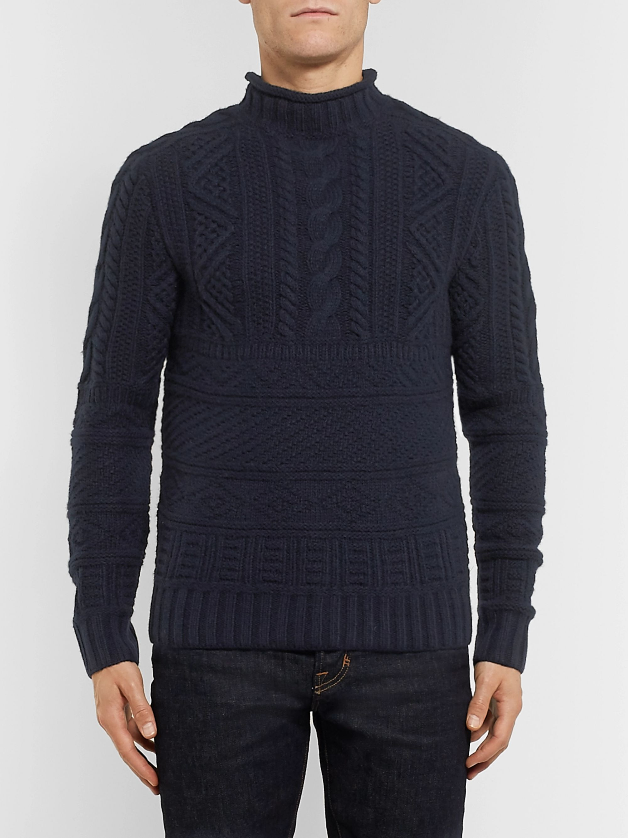 Ralph Lauren Purple Label Cable-Knit Wool and Cashmere-Blend Mock-Neck Sweater