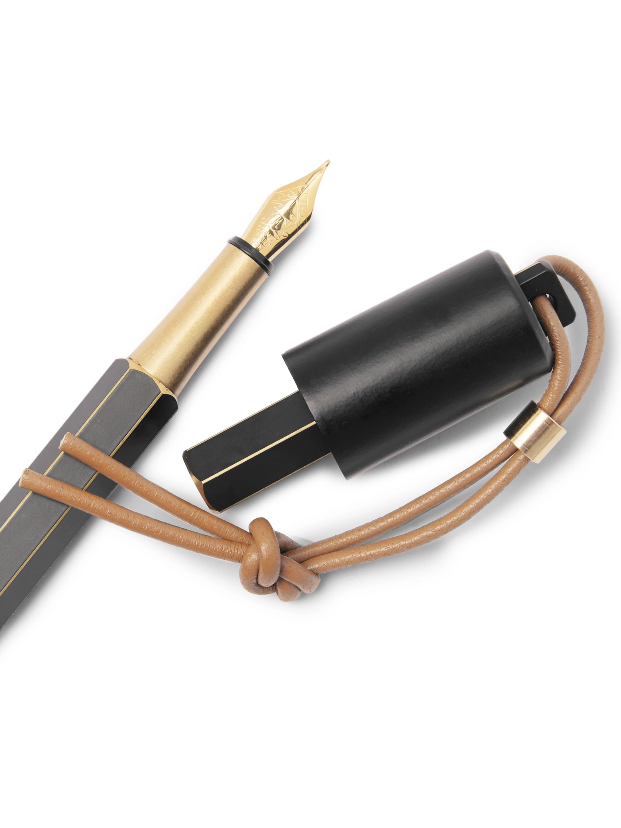 Ystudio Portable Brass and Copper Fountain Pen and Holder