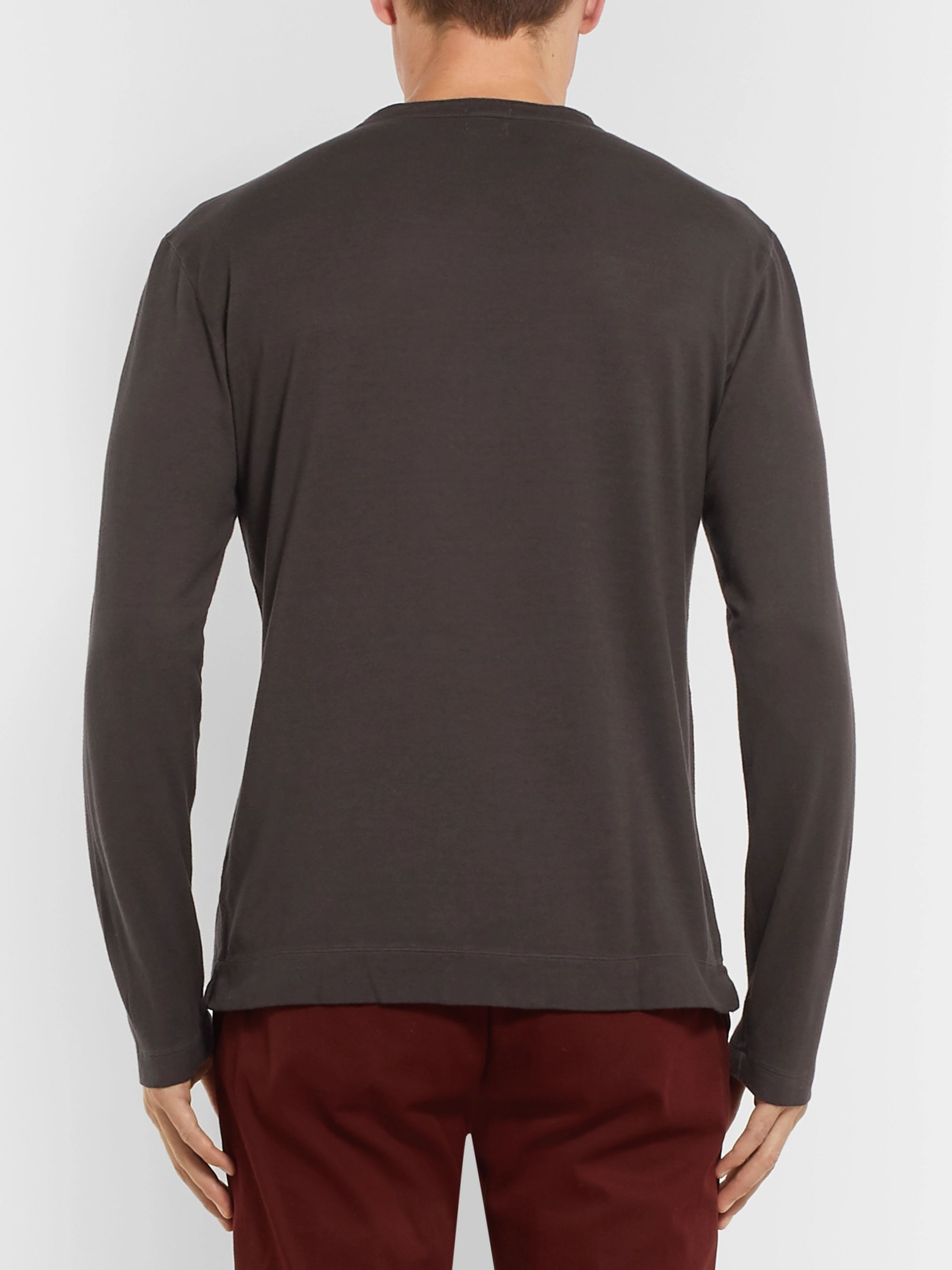 Massimo Alba Slim-Fit Garment-Dyed Cotton and Cashmere-Blend Henley T-Shirt