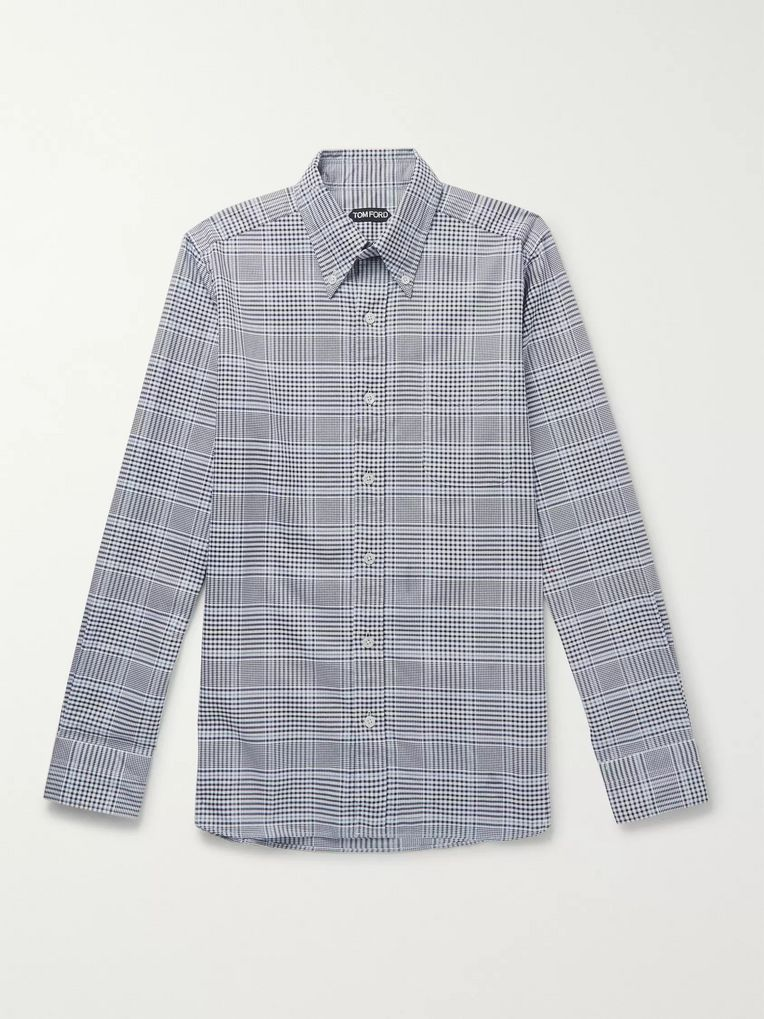 TOM FORD Slim-Fit Button-Down Collar Checked Cotton Shirt