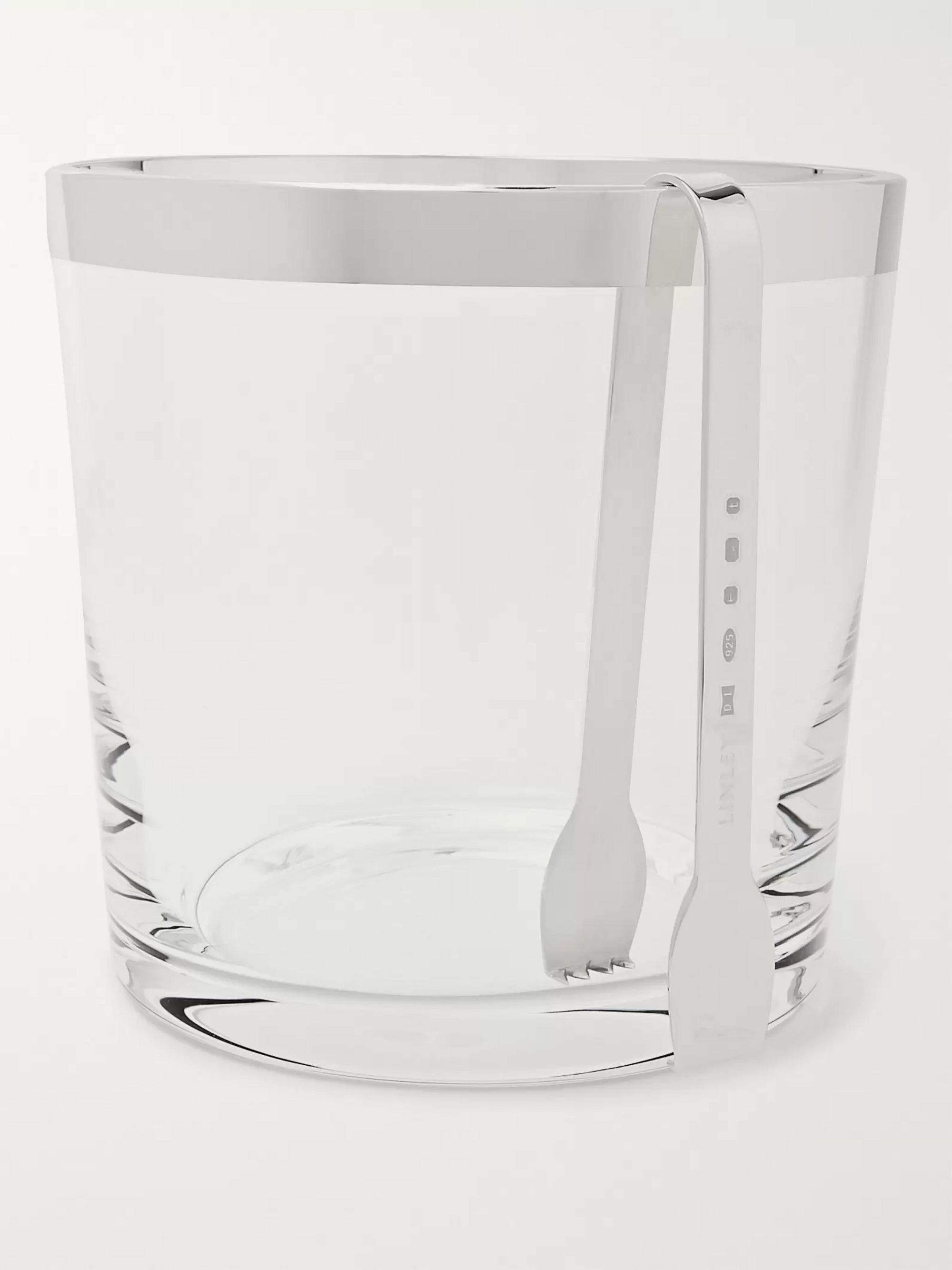 Linley Glass Ice Bucket and Sterling Silver Tongs Set
