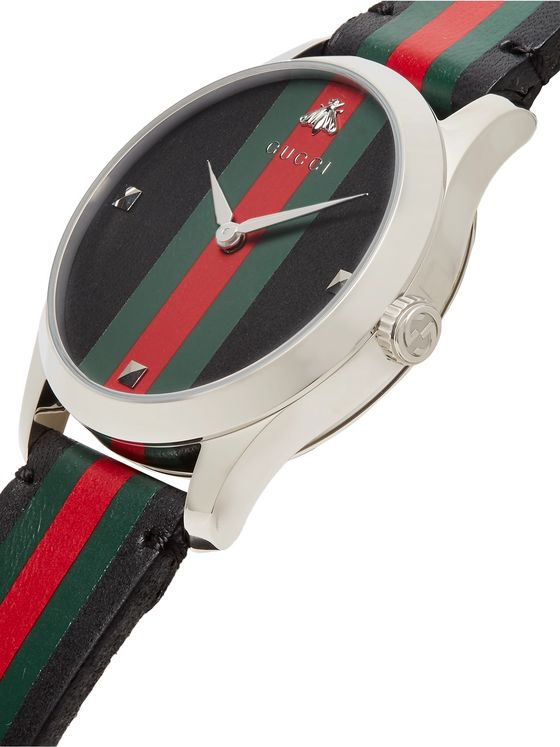 GUCCI G-Timeless 38mm Stainless Steel and Striped Leather Watch