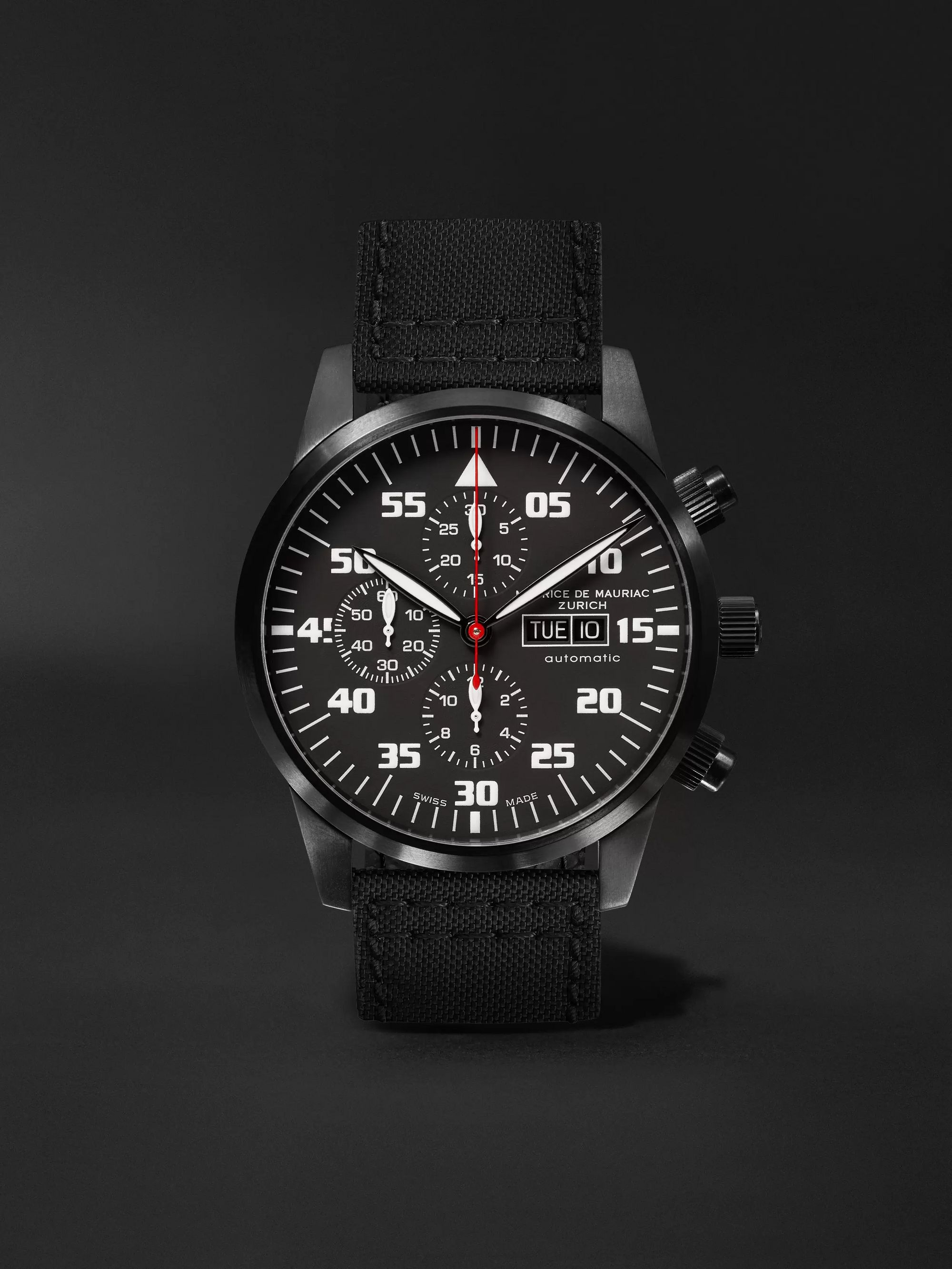 Maurice de Mauriac Zurich Automatic Chronograph 45mm PVD-Coated Stainless Steel and Kevlar Watch, Ref. No. CH MO 034 06 L