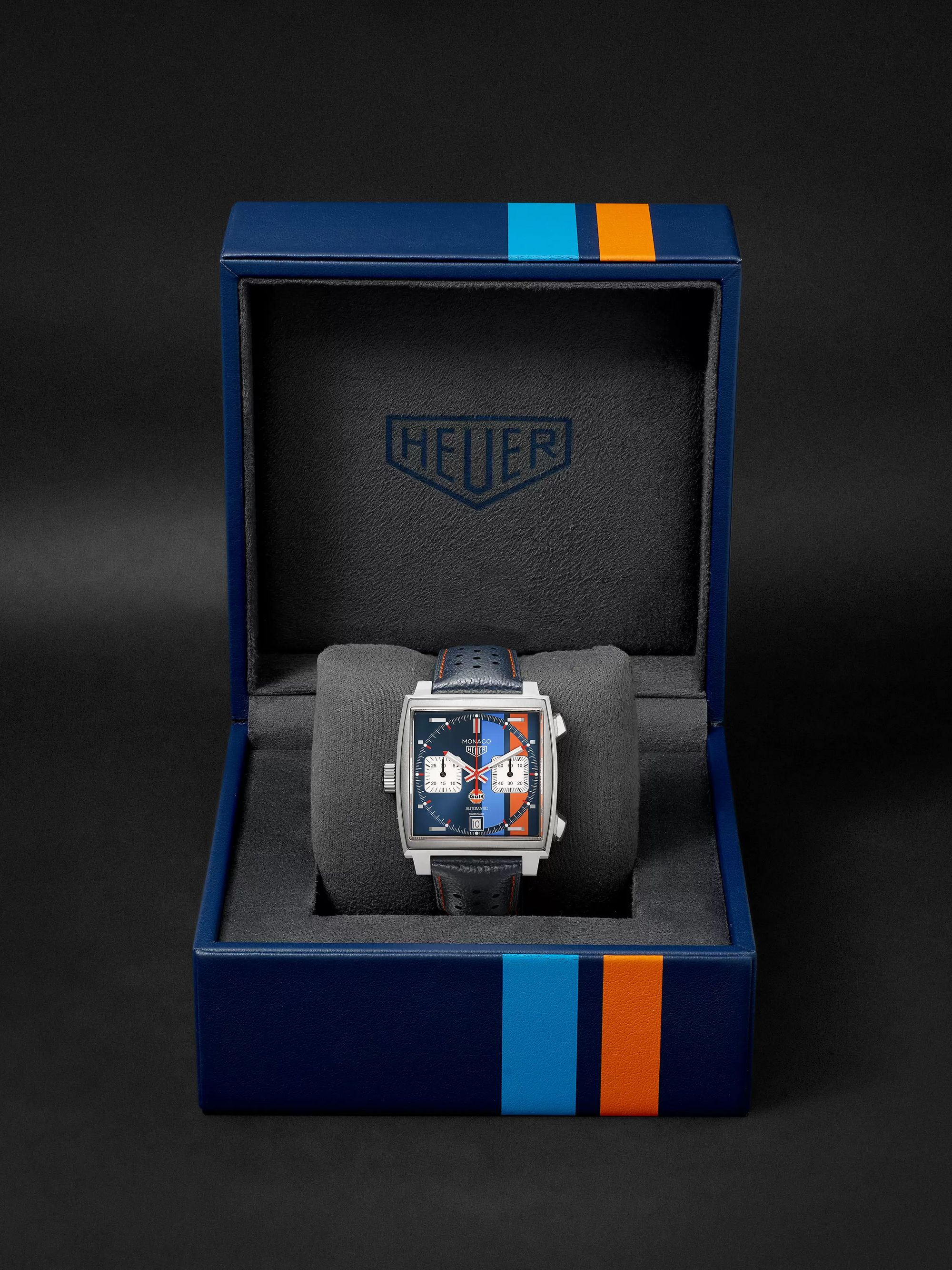 TAG Heuer Monaco Gulf Edition Automatic 39mm Steel and Leather Watch, Ref. No. CAW211R.FC6401