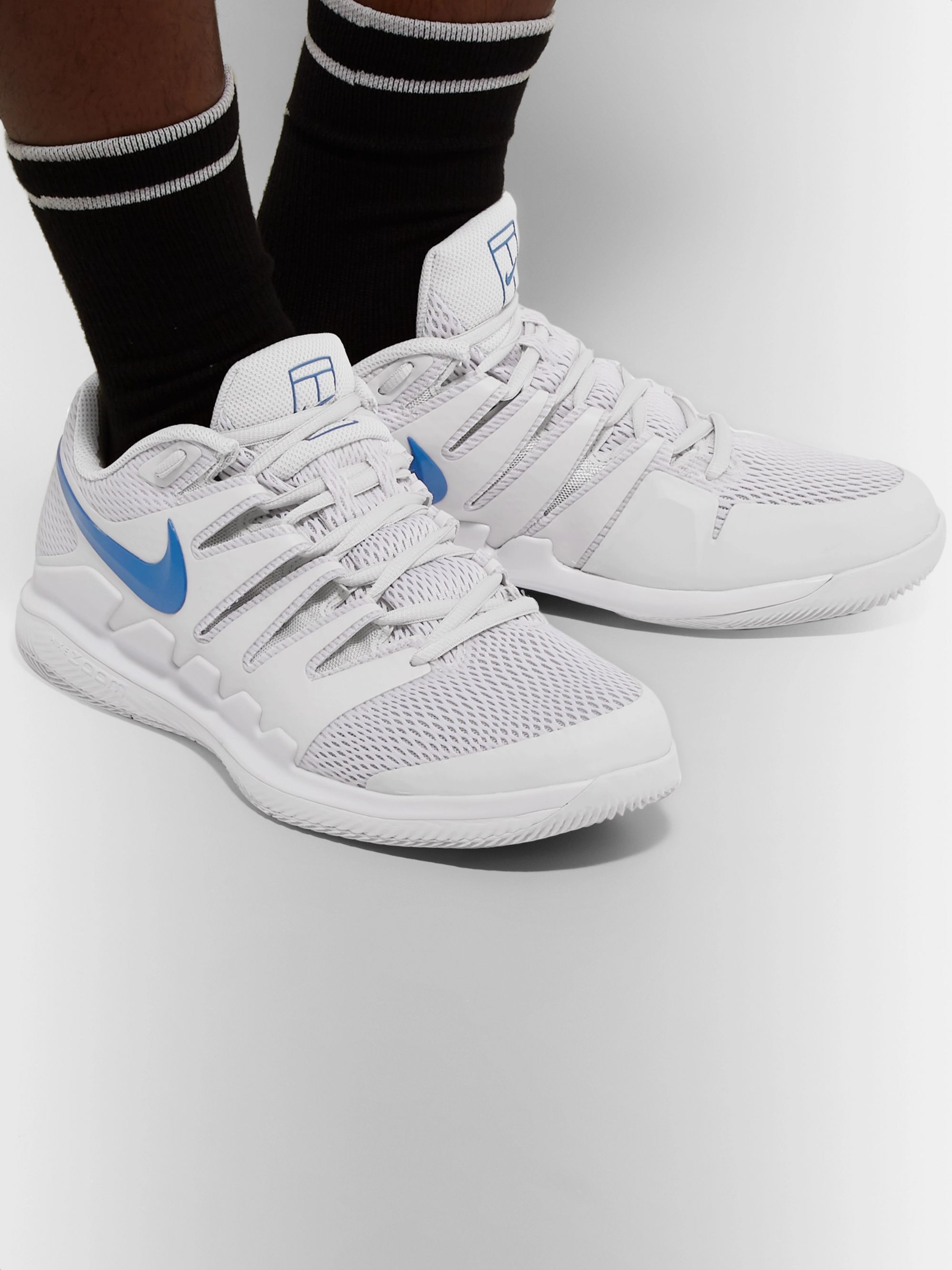 White Air Zoom Vapor X Rubber and Mesh Tennis Sneakers