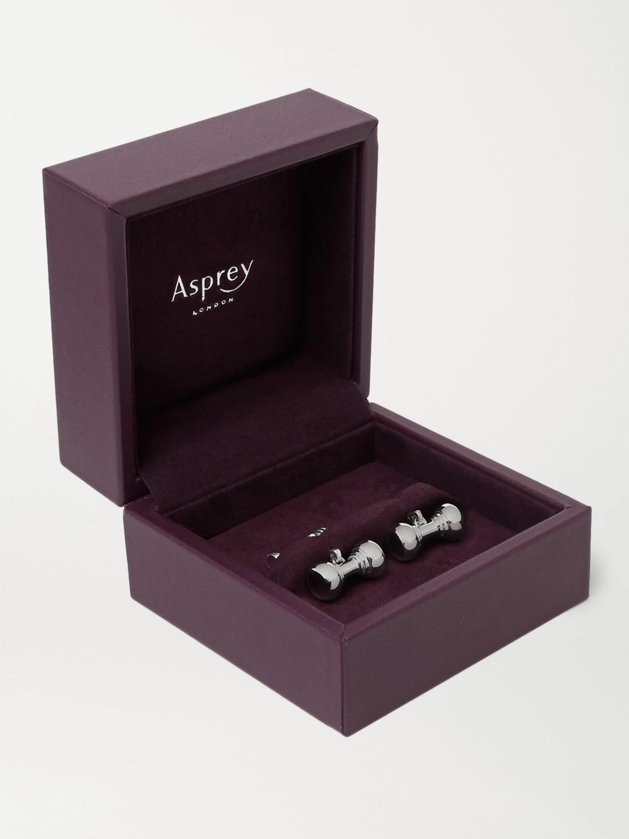 Asprey Dumbbell Sterling Silver and Enamel Cufflinks