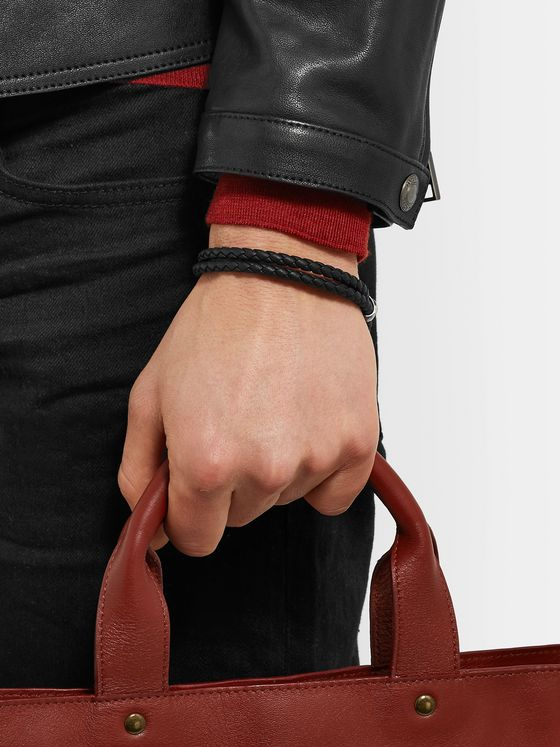 Bottega Veneta Intrecciato Leather and Burnished Silver-Tone Bracelet