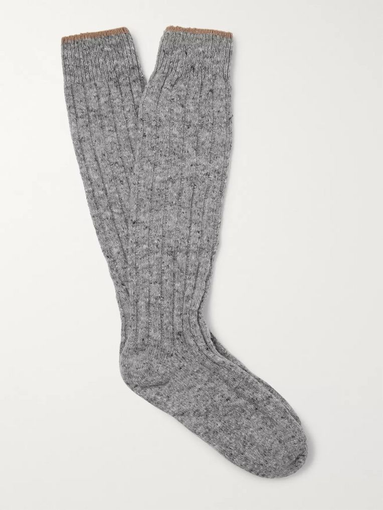 Brunello Cucinelli Ribbed Mélange Virgin Wool-Blend Socks