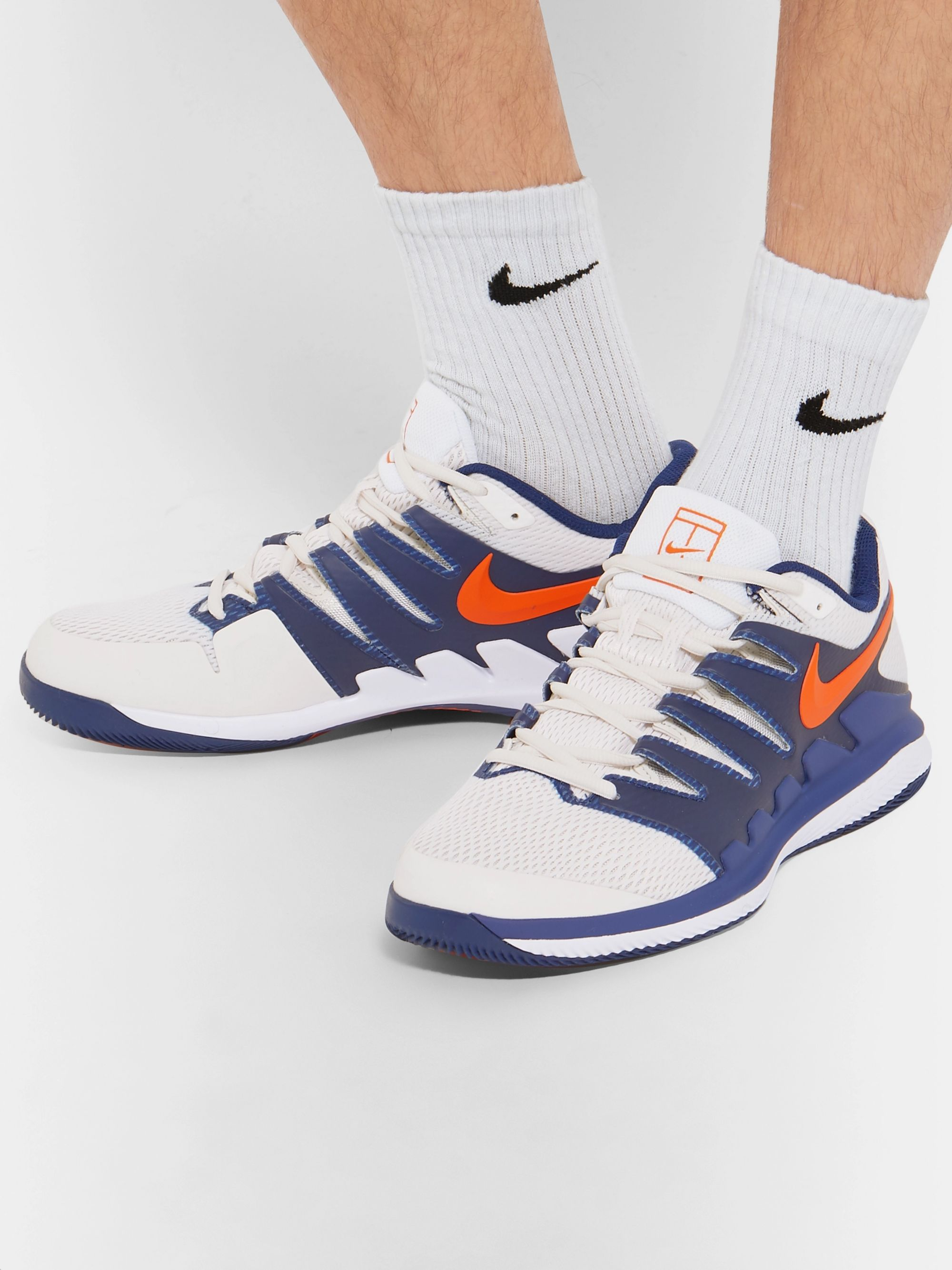 White Air Zoom Vapor X Mesh and Rubber Tennis Sneakers
