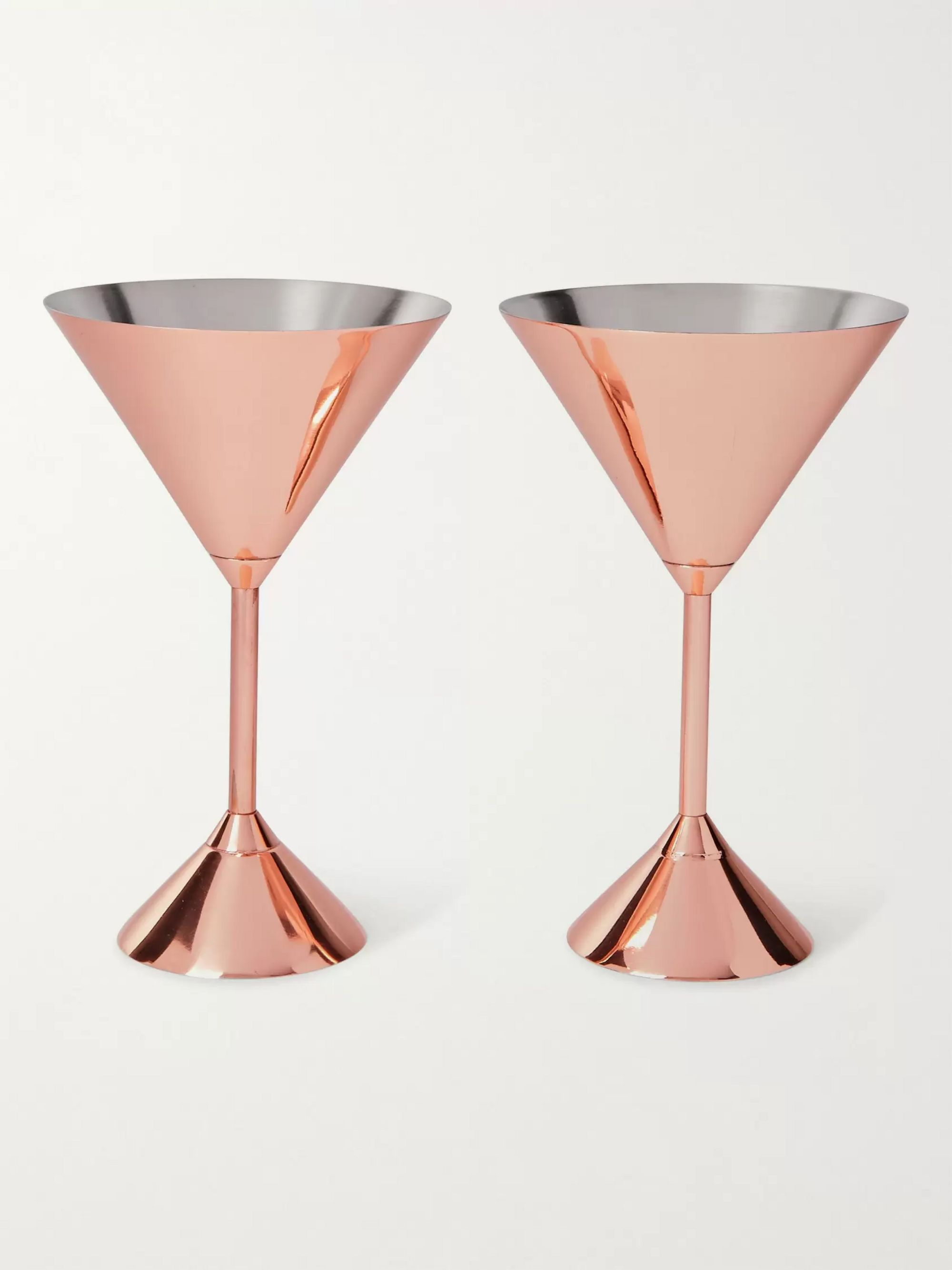 Tom Dixon Plum Set of Two Copper-Plated Martini Glasses