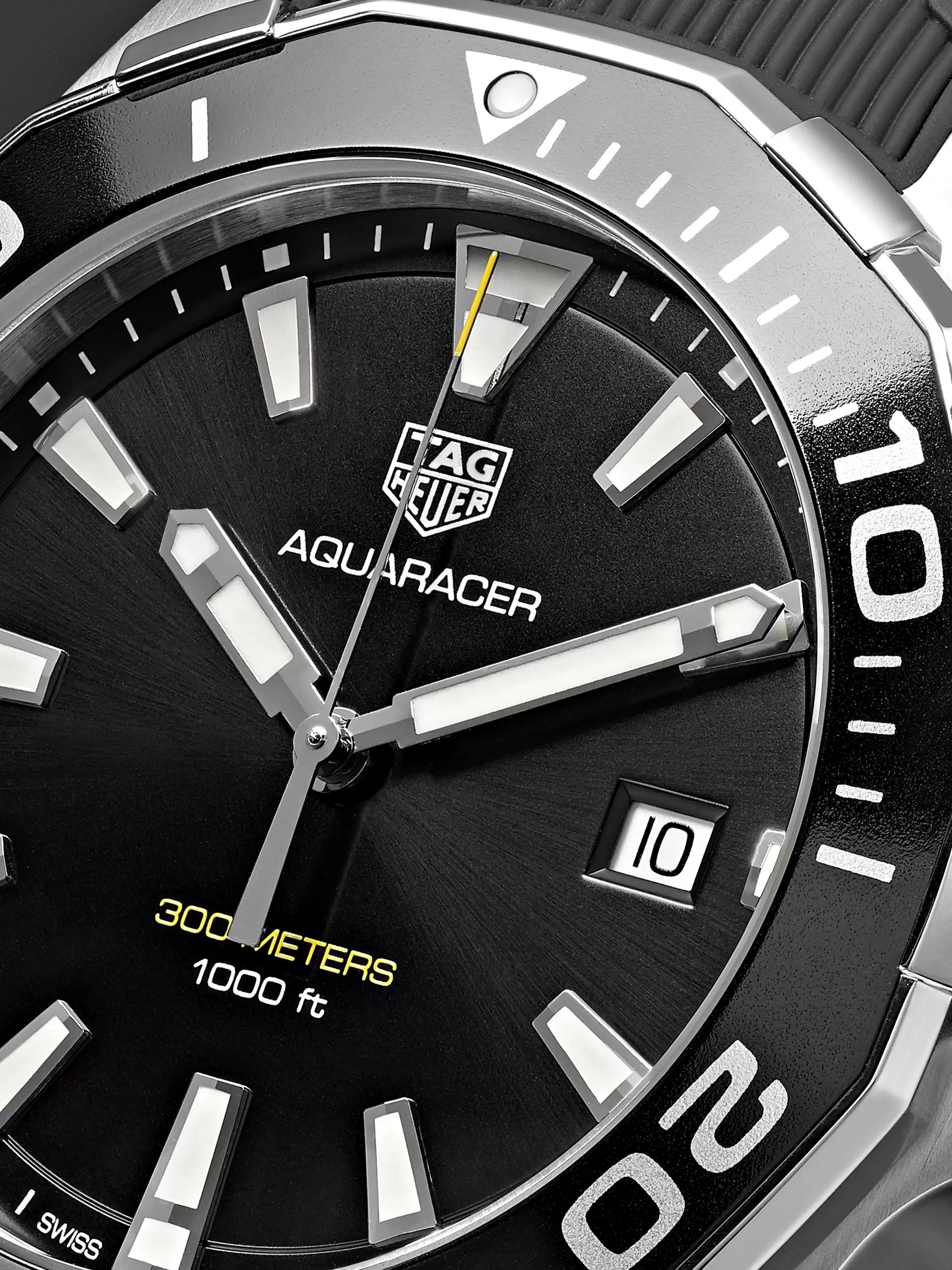 TAG Heuer Aquaracer Quartz 43mm Steel and Rubber Watch, Ref. No. WAY101A.FT6141