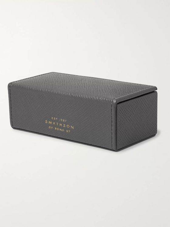 Kingsman + Smythson Panama Cross-Grain Leather Cufflink Box