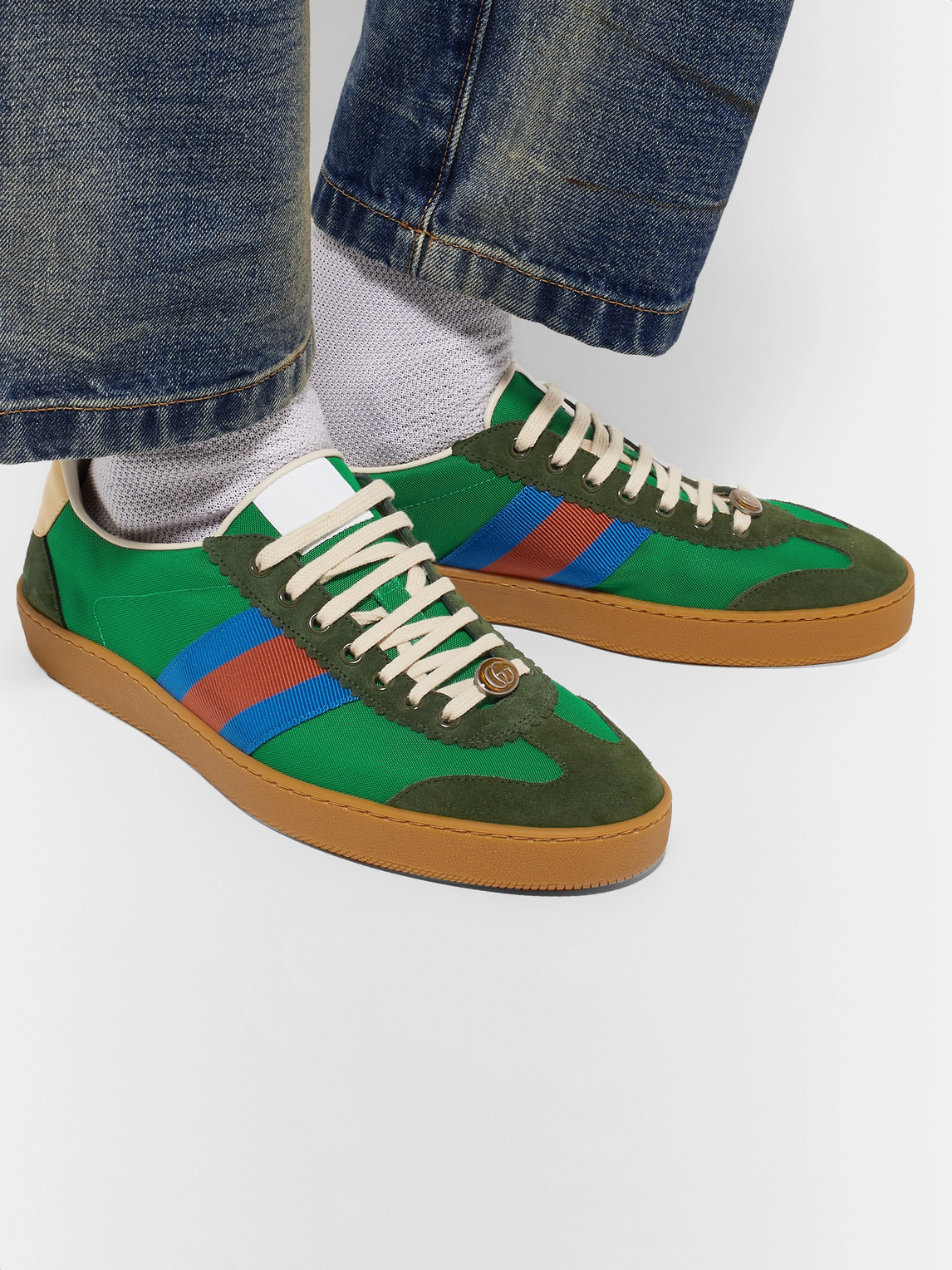 Gucci Sneakers JBG WEBBING, SUEDE AND LEATHER-TRIMMED NYLON SNEAKERS