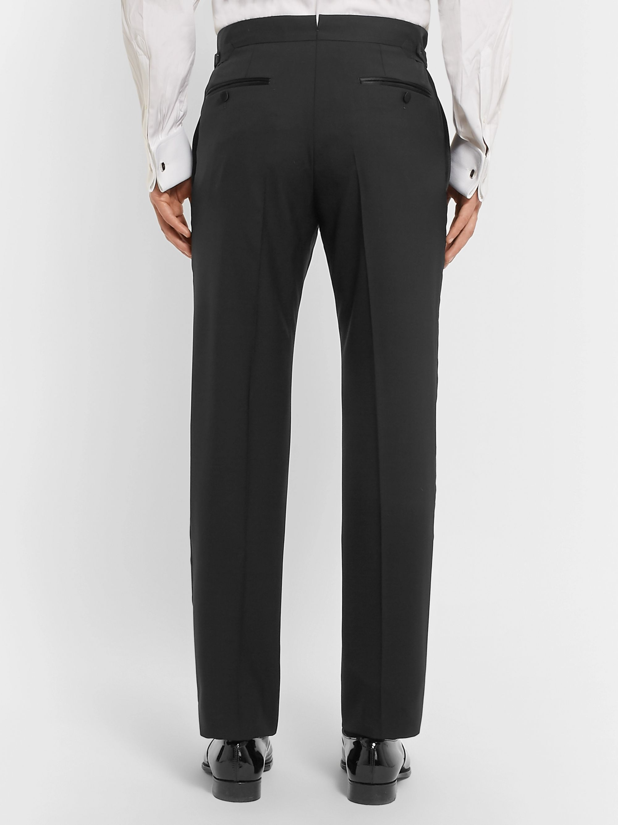 TOM FORD Black Slim-Fit Satin-Trimmed Super 120s Wool Tuxedo Trousers