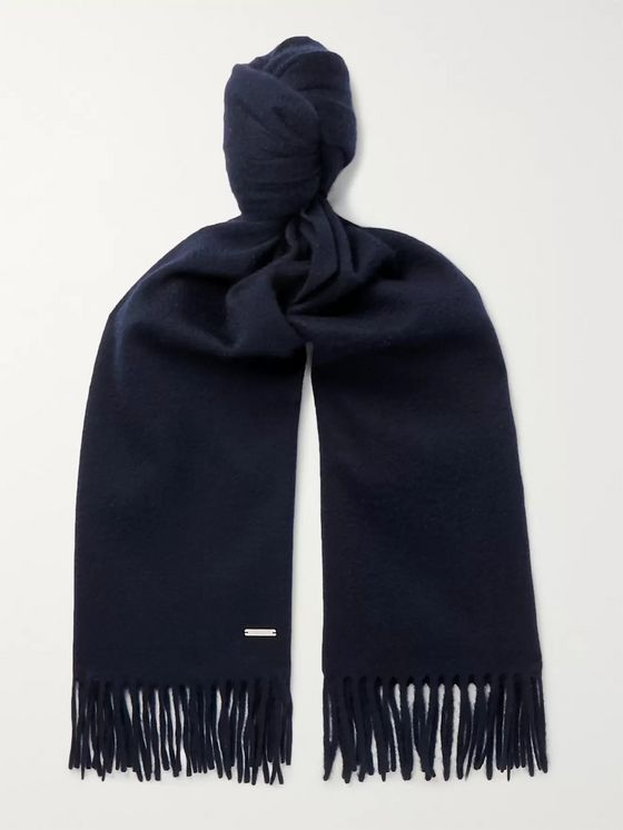 LORO PIANA Fringed Brushed-Cashmere Scarf