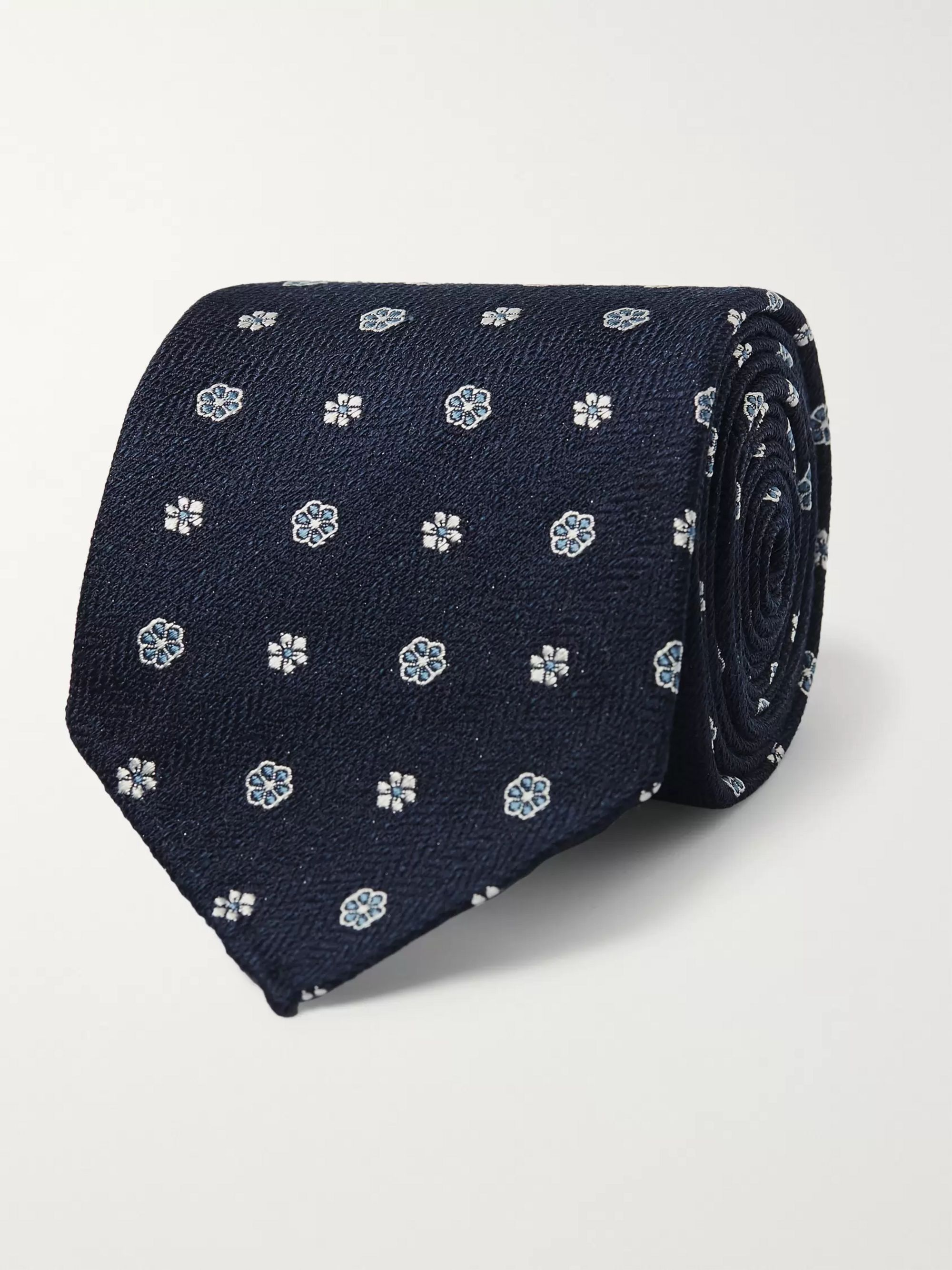 Drake's 8cm Floral Silk and Linen-Blend Jacquard Tie