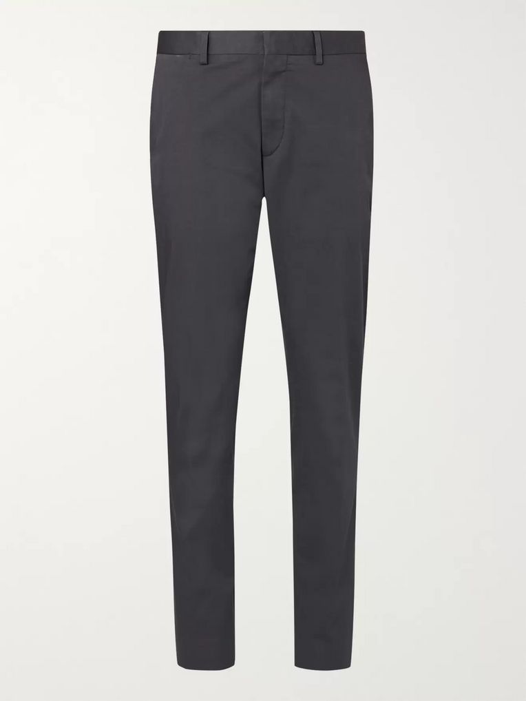 Ermenegildo Zegna Charcoal Washed Stretch-Cotton Twill Trousers