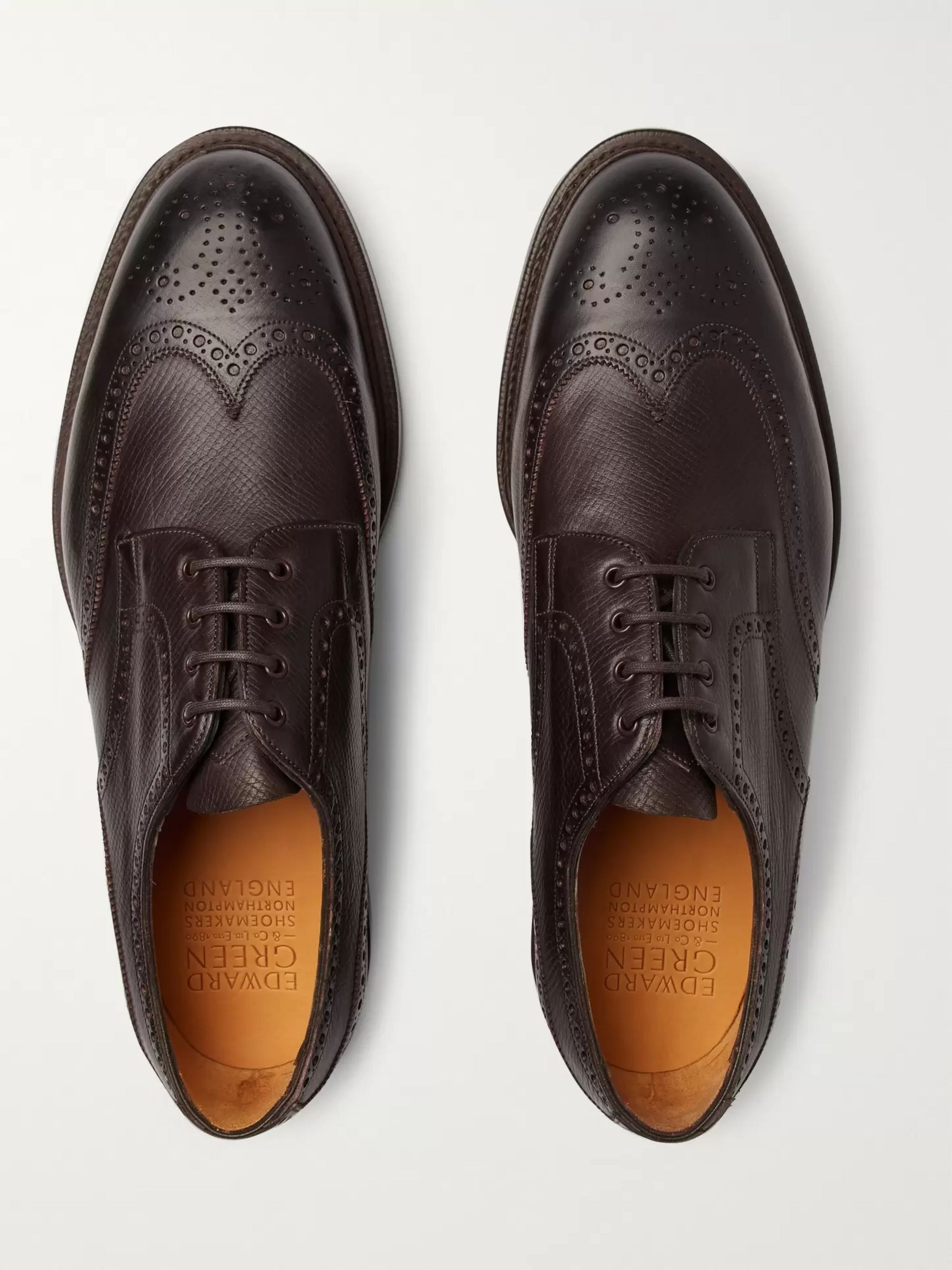 Edward Green Borrowdale Textured-Leather Wing-Tip Brogues