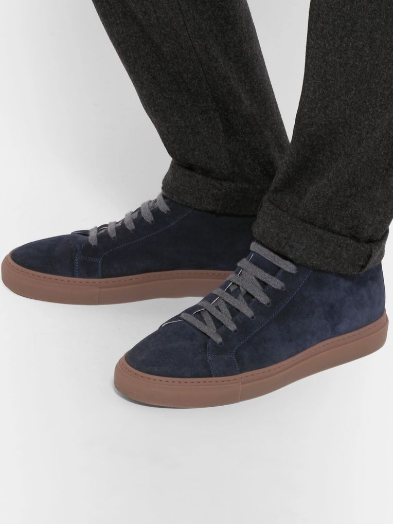 Brunello Cucinelli Nubuck-Trimmed Suede High-Top Sneakers